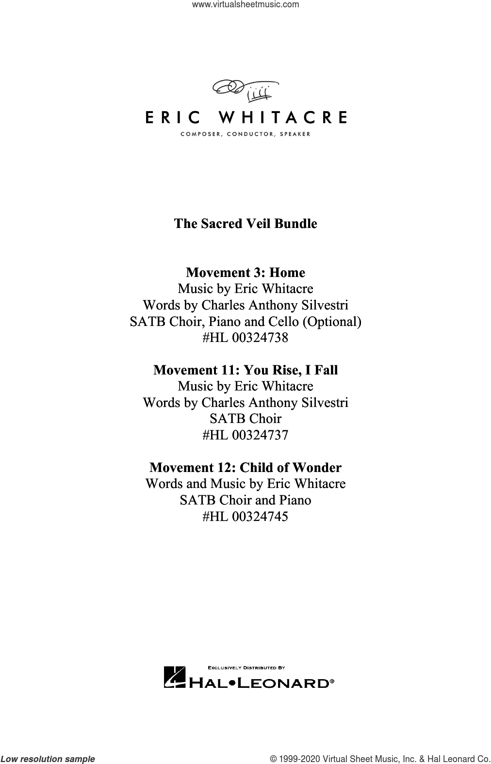The Sacred Veil Bundle ('Home,' 'You Rise, I Fall' and 'Child of Wonder') sheet music for choir (SATB: soprano, alto, tenor, bass) by Eric Whitacre, intermediate skill level