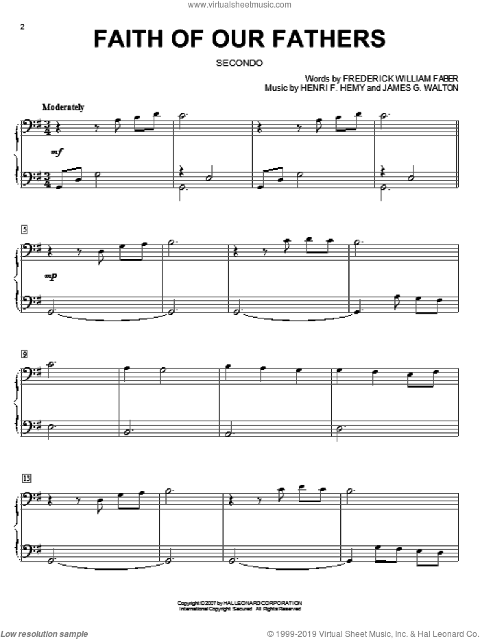 Faith Of Our Fathers sheet music for piano four hands by Frederick William Faber, Henri F. Hemy and James G. Walton, intermediate skill level
