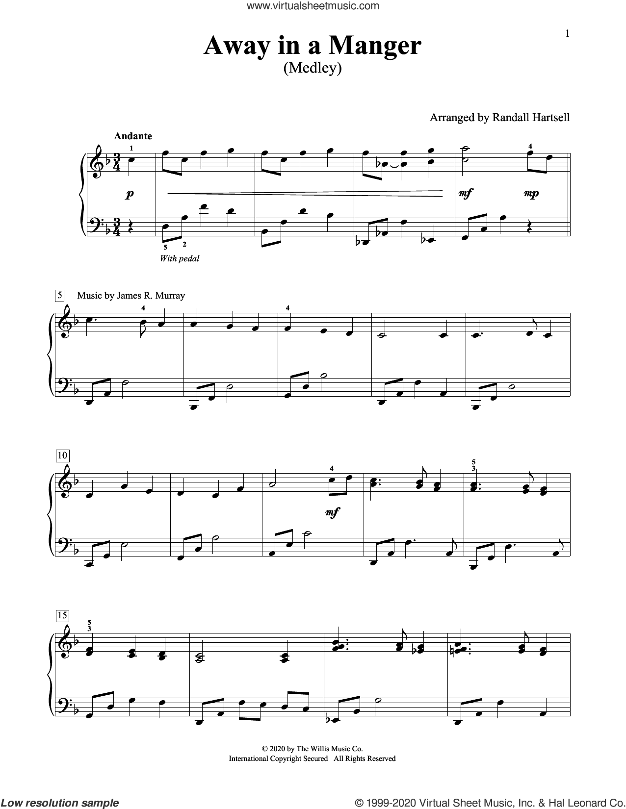 Away In A Manger (Medley) (arr. Randall Hartsell) sheet music for piano solo (elementary) by William J. Kirkpatrick, Randall Hartsell, James R. Murray, Jonathan E. Spilman and Miscellaneous, beginner piano (elementary)
