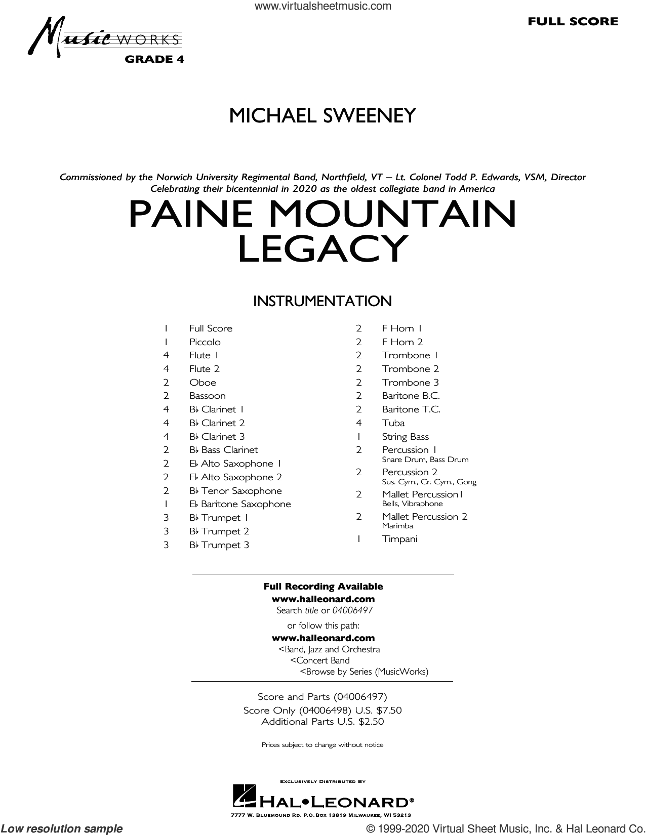 Paine Mountain Legacy (COMPLETE) sheet music for concert band by Michael Sweeney, intermediate skill level