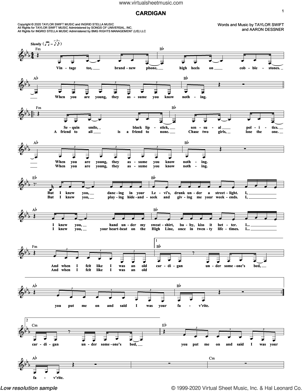cardigan sheet music for voice and other instruments (fake book) by Taylor Swift and Aaron Dessner, intermediate skill level