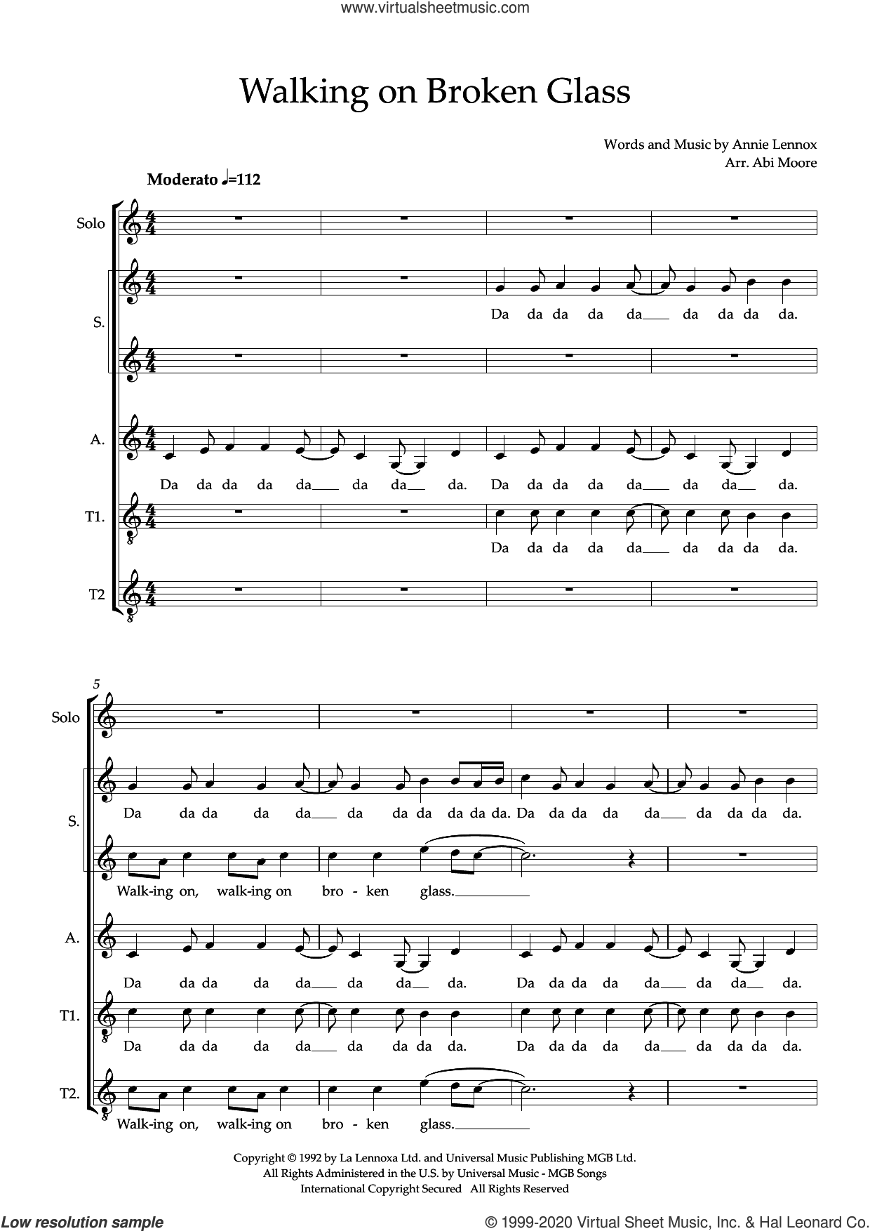 Walking On Broken Glass (arr. Abi Moore) sheet music for choir (SSATB) by Annie Lennox and Abi Moore, intermediate skill level