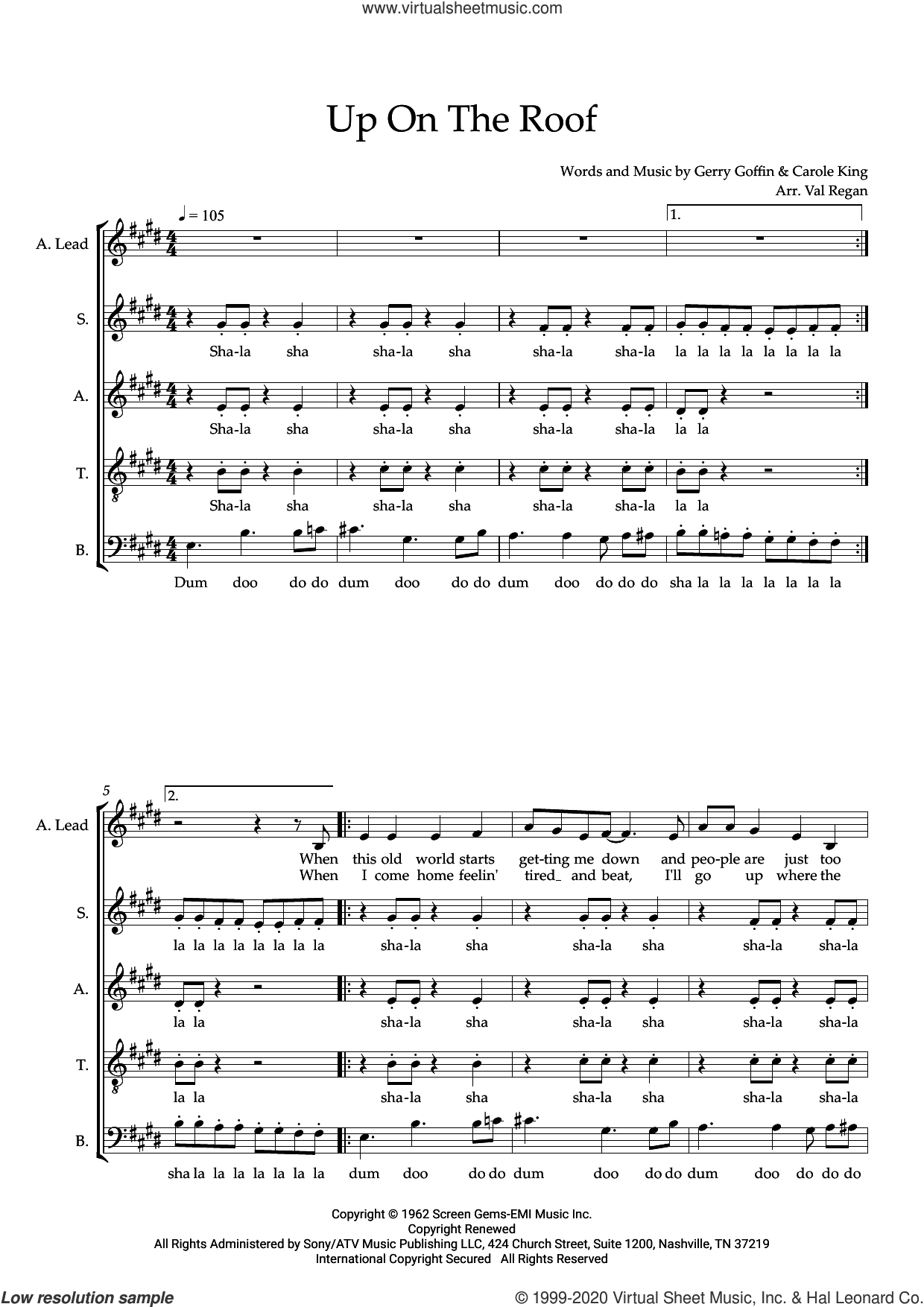 Up On the Roof (arr. Val Regan) sheet music for choir (SATB: soprano, alto, tenor, bass) by The Drifters, Val Regan, Carole King and Gerry Goffin, intermediate skill level