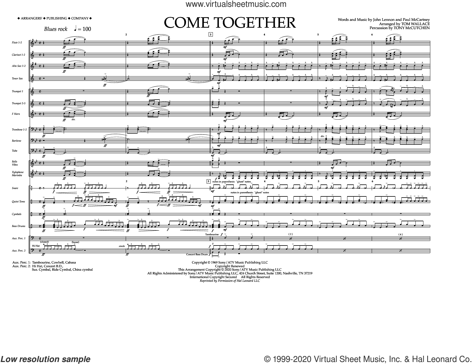 Come Together (arr. Tom Wallace) (COMPLETE) sheet music for marching band by The Beatles, John Lennon, Paul McCartney, Tom Wallace and Tony McCutchen, intermediate skill level