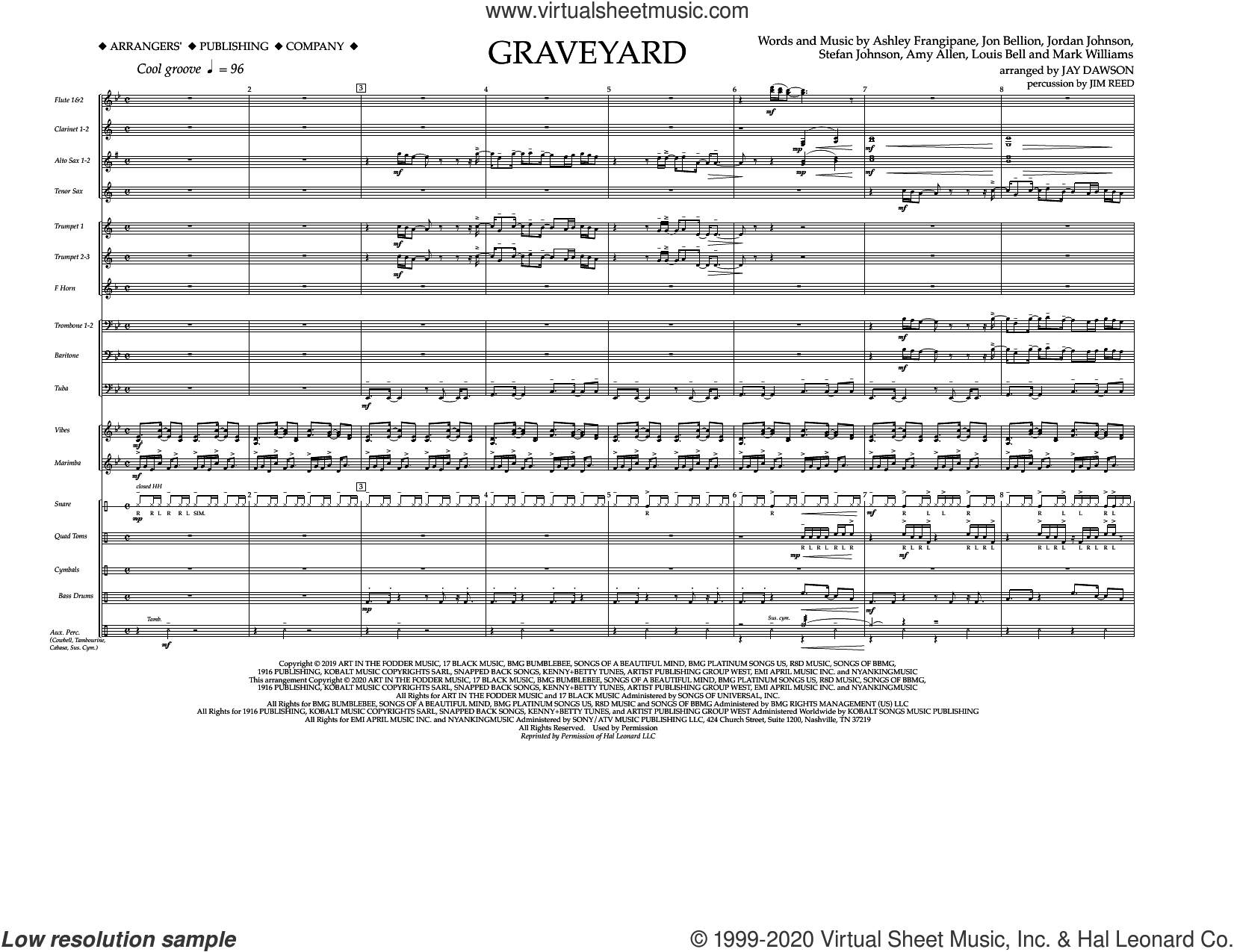 Graveyard (arr. Jay Dawson) (COMPLETE) sheet music for marching band by Mark Williams, Amy Allen, Ashley Frangipane, Halsey, Jay Dawson, Jim Reed, Jon Bellion, Jordan Johnson, Louis Bell and Stefan Johnson, intermediate skill level