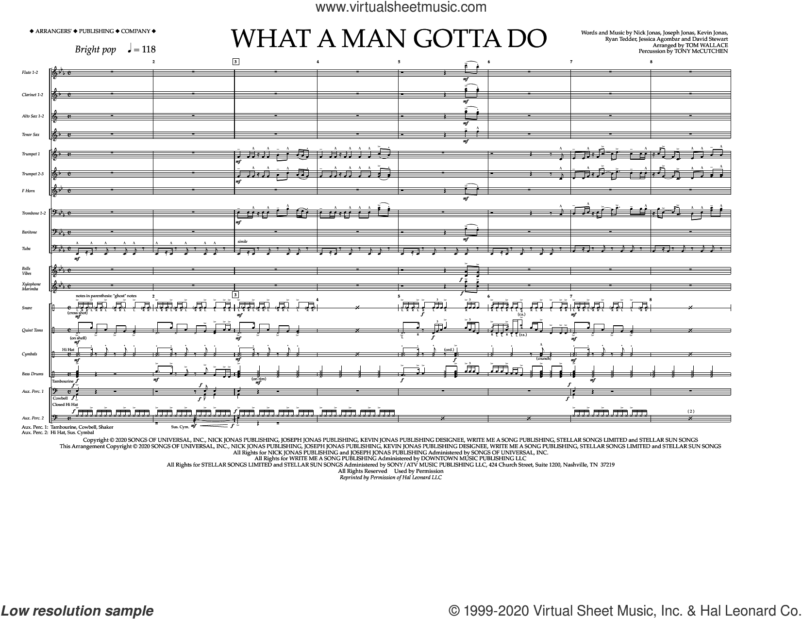 What a Man Gotta Do (arr. Tom Wallace) (COMPLETE) sheet music for marching band by Jonas Brothers, Dave Stewart, Jess Agombar, Joseph Jonas, Kevin Jonas, Nick Jonas, Ryan Tedder, Tom Wallace and Tony McCutchen, intermediate skill level