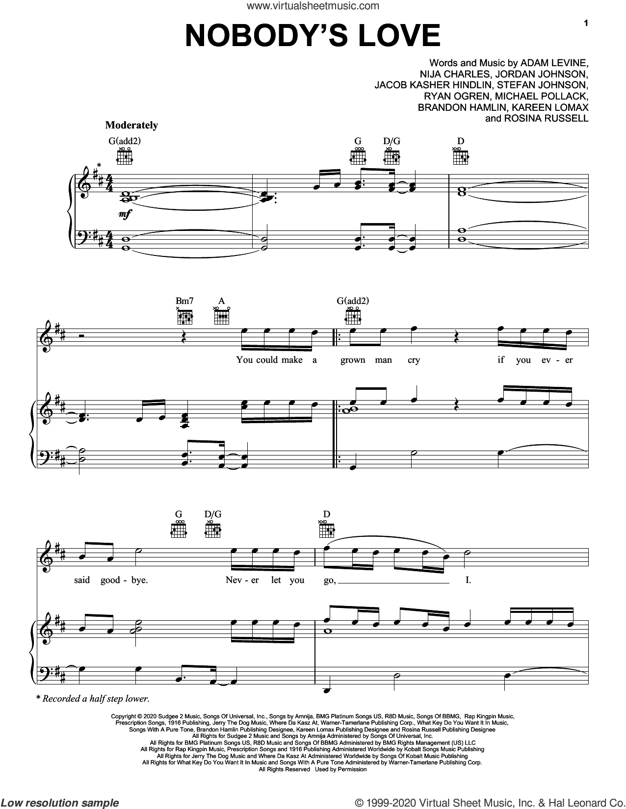 Nobody's Love sheet music for voice, piano or guitar by Maroon 5, Adam Levine, Brandon Hamlin, Jacob Kasher Hindlin, Jordan Johnson, Kareen Lomax, Michael Pollack, Nija Charles, Rosina Russell, Ryan Ogren and Stefan Johnson, intermediate skill level