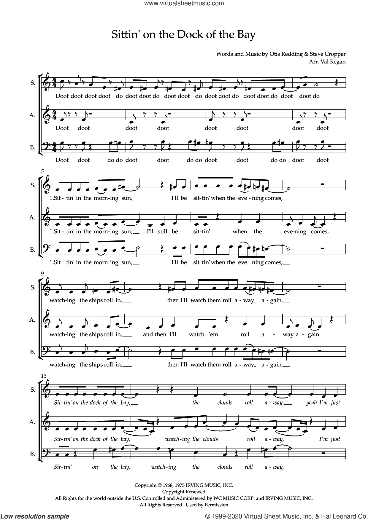 (Sittin' On) The Dock of the Bay (arr. Val Regan) sheet music for choir (SAB: soprano, alto, bass) by Otis Redding, Val Regan and Steve Cropper, intermediate skill level