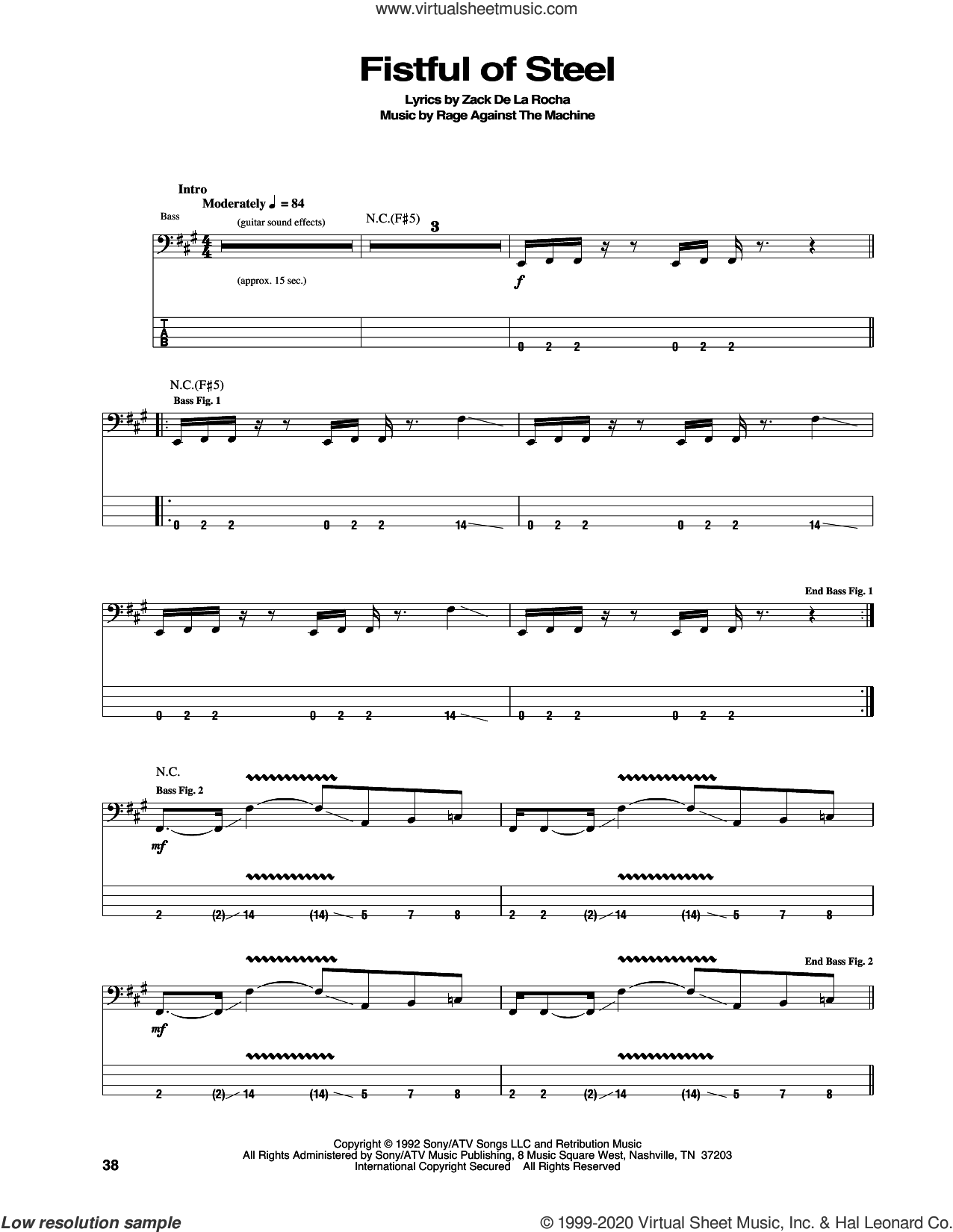 Fistful Of Steel sheet music for bass (tablature) (bass guitar) by Rage Against The Machine, intermediate skill level