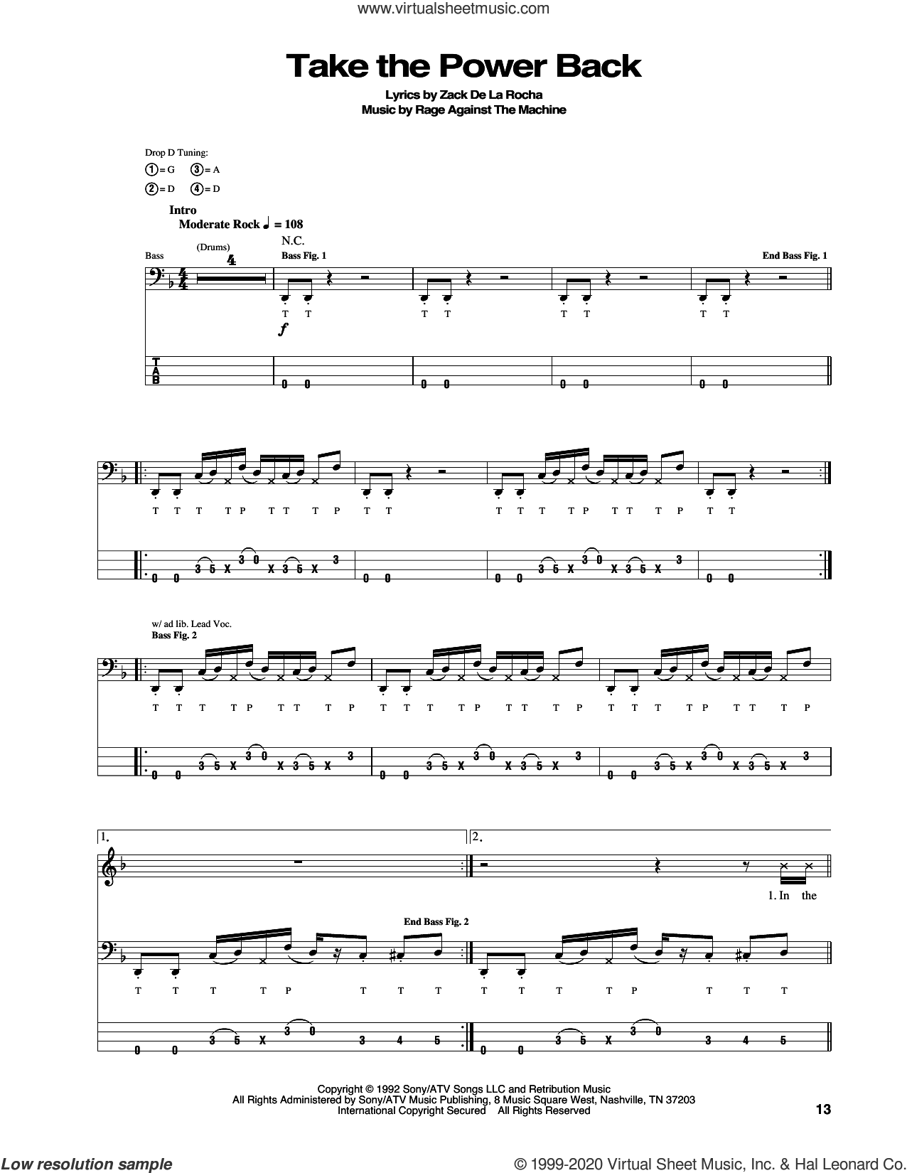 Take The Power Back sheet music for bass (tablature) (bass guitar) by Rage Against The Machine, Brad Wilk, Tim Commerford, Tom Morello and Zack De La Rocha, intermediate skill level