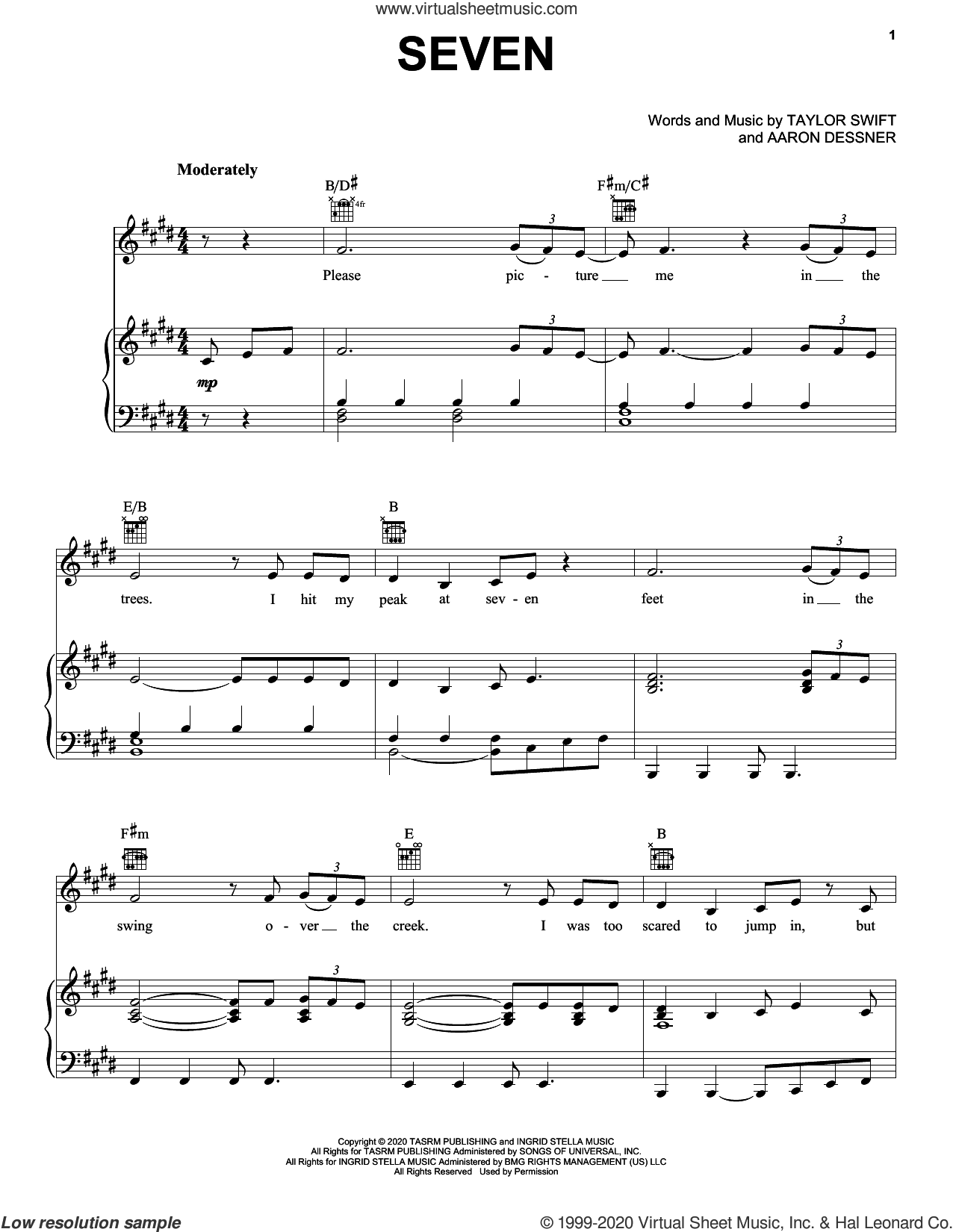 seven sheet music for voice, piano or guitar by Taylor Swift and Aaron Dessner, intermediate skill level