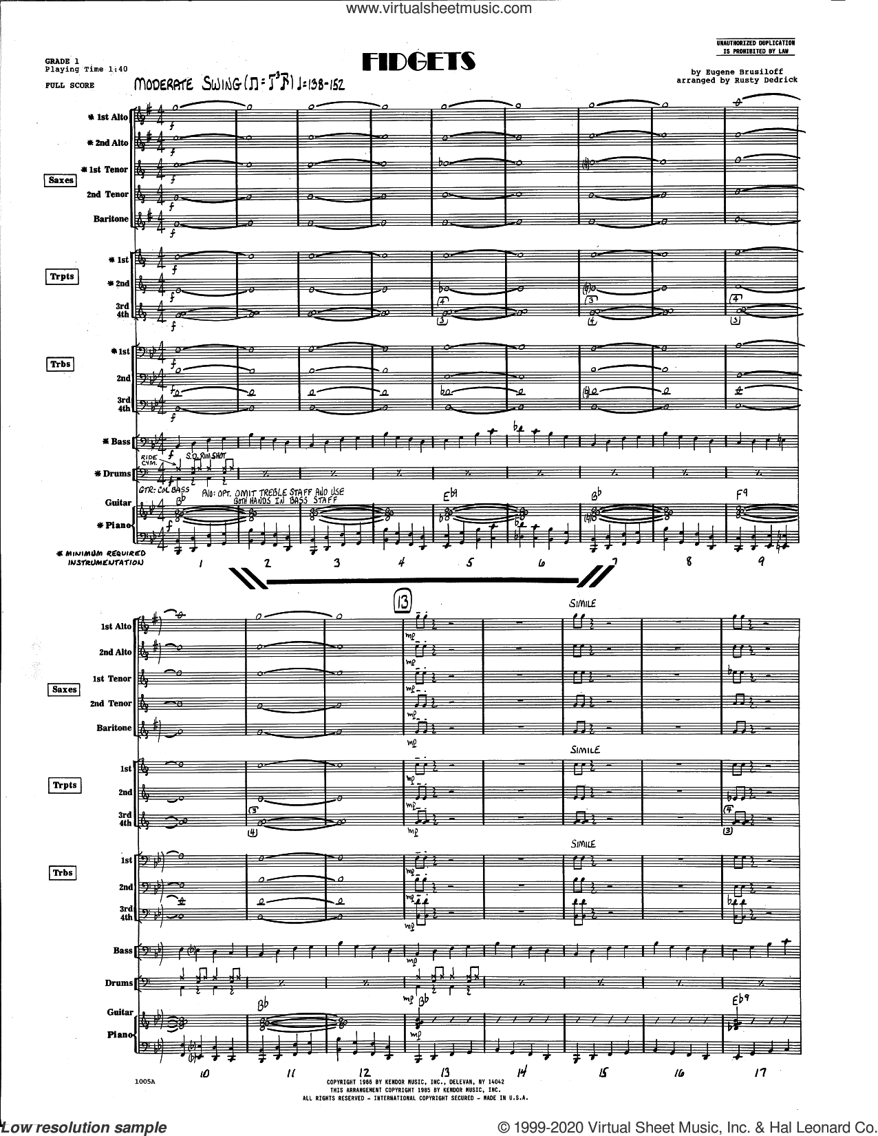 Fidgets (arr. Rusty Dedrick) (COMPLETE) sheet music for jazz band by Eugene Brusiloff and Rusty Dedrick, intermediate skill level