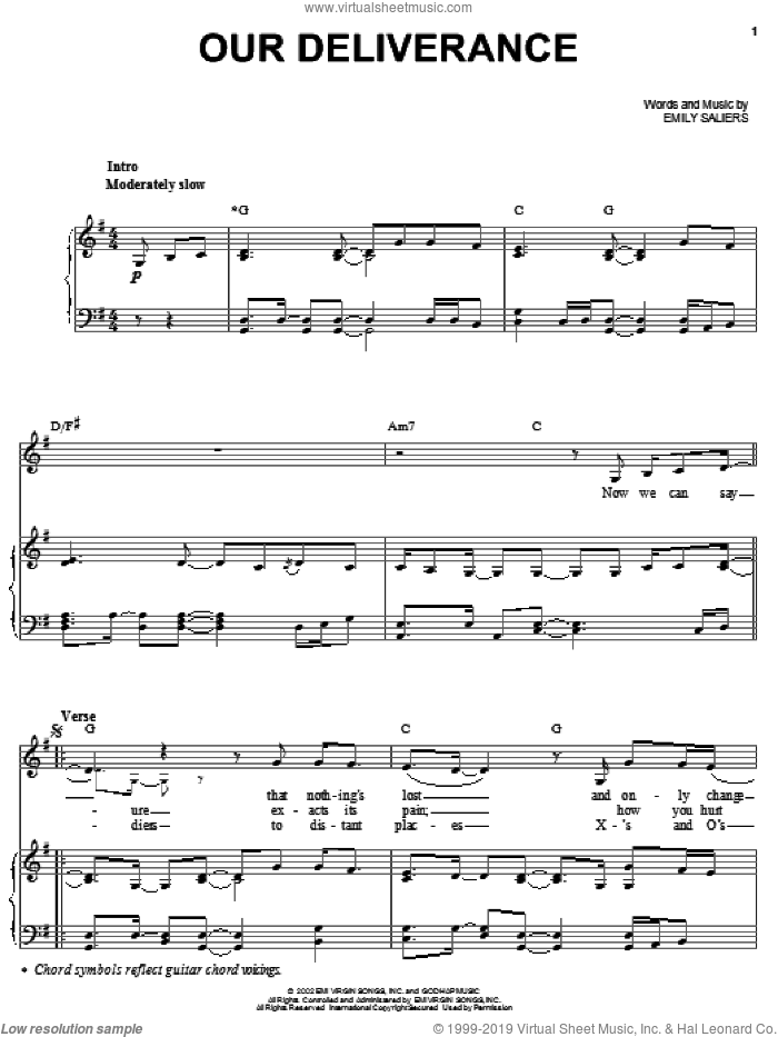 Our Deliverance sheet music for voice, piano or guitar by Emily Saliers