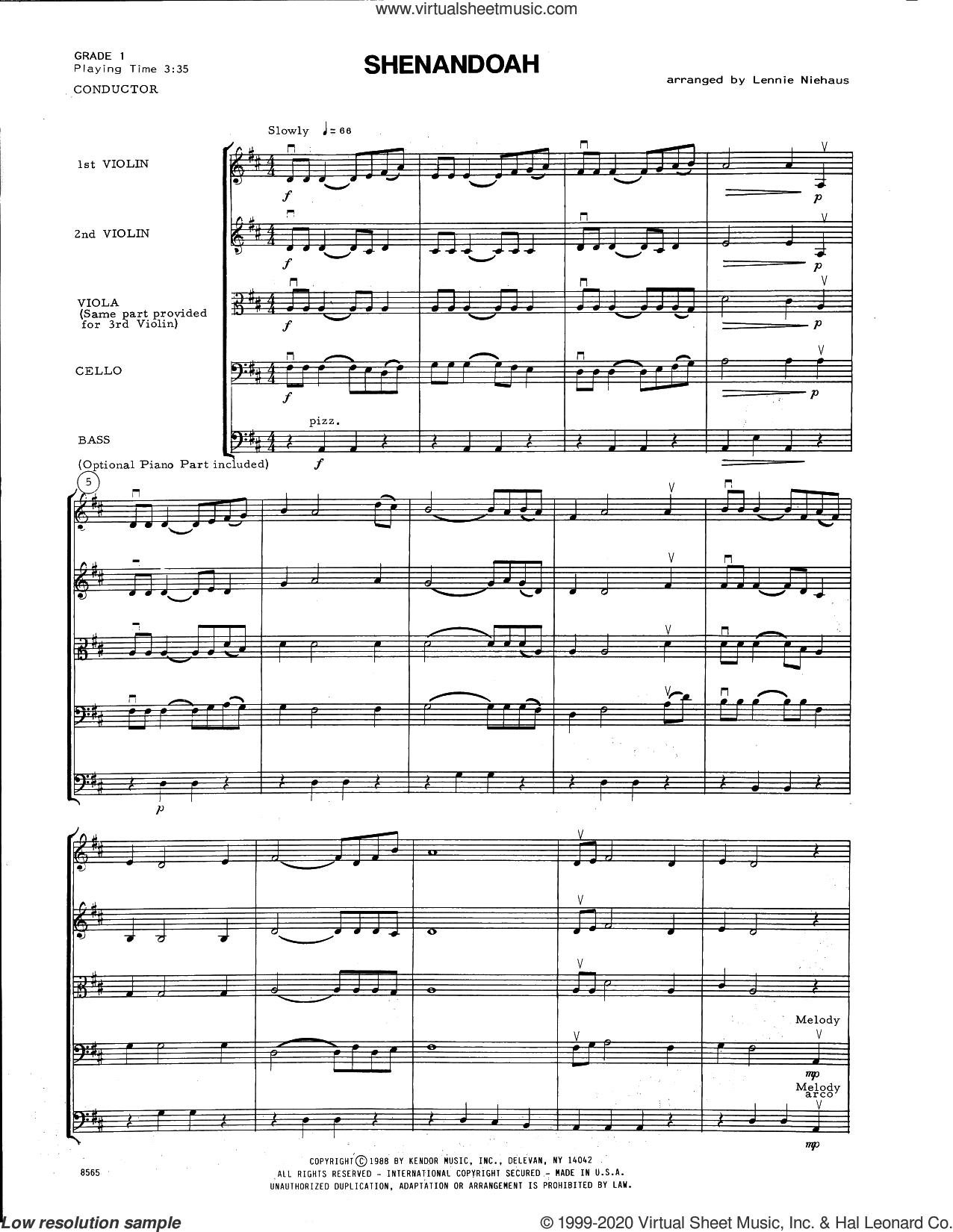 Shenandoah (arr. Lennie Niehaus) (COMPLETE) sheet music for orchestra  and Lennie Niehaus, intermediate skill level