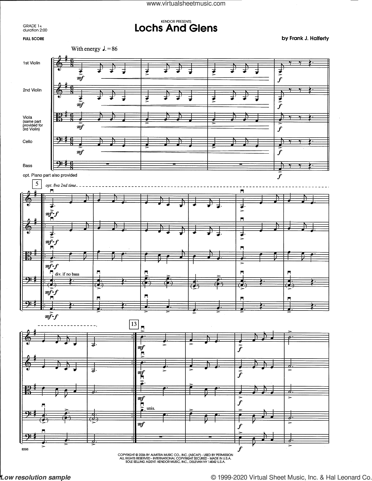 Lochs And Glens (COMPLETE) sheet music for orchestra by Frank J. Halferty, intermediate skill level