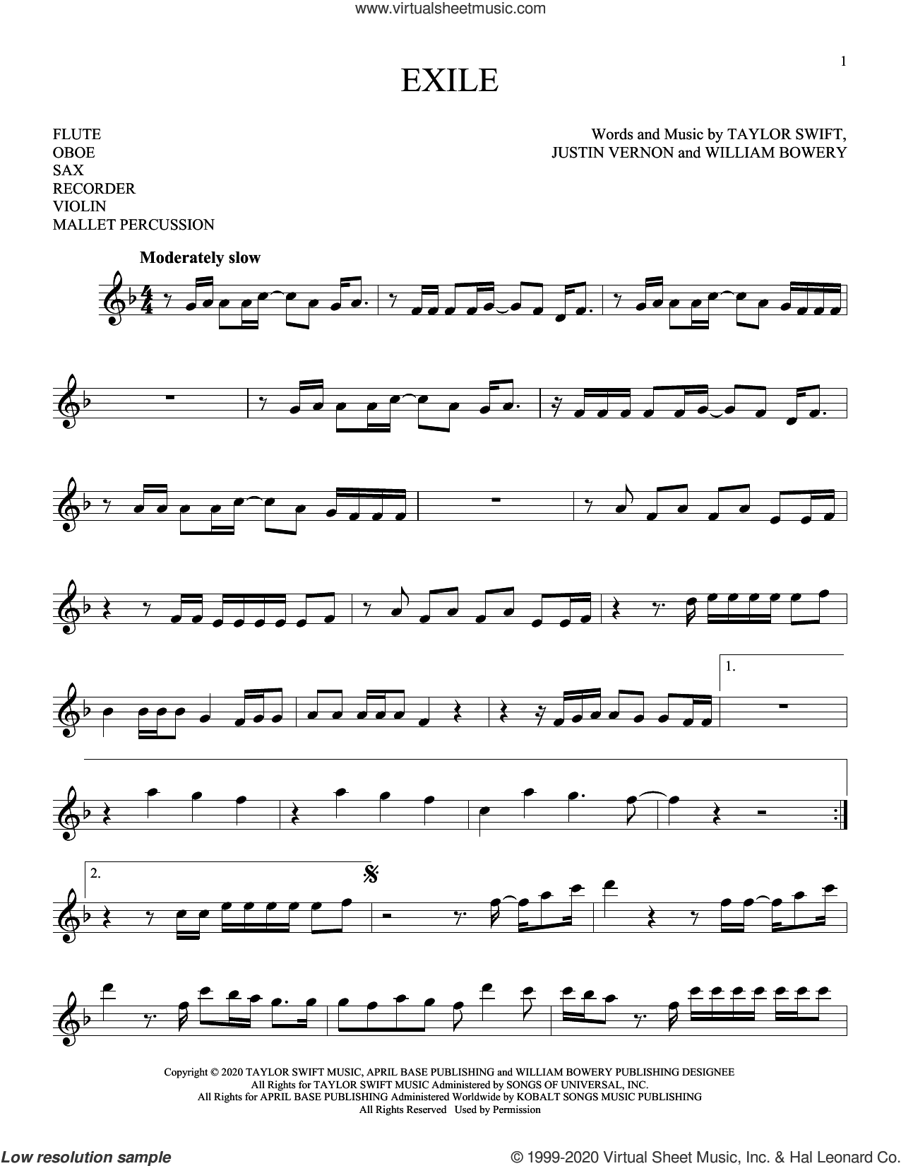 exile (feat. Bon Iver) sheet music for Solo Instrument (treble clef high) by Taylor Swift, Justin Vernon and William Bowery, intermediate skill level