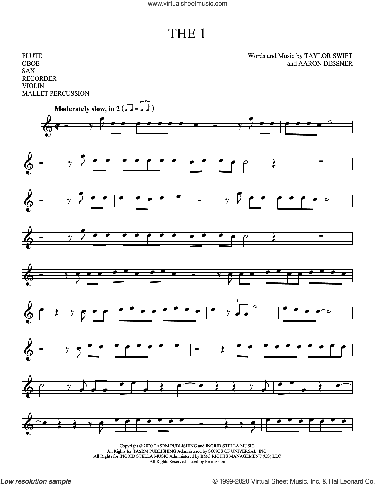 the 1 sheet music for Solo Instrument (treble clef high) by Taylor Swift and Aaron Dessner, intermediate skill level