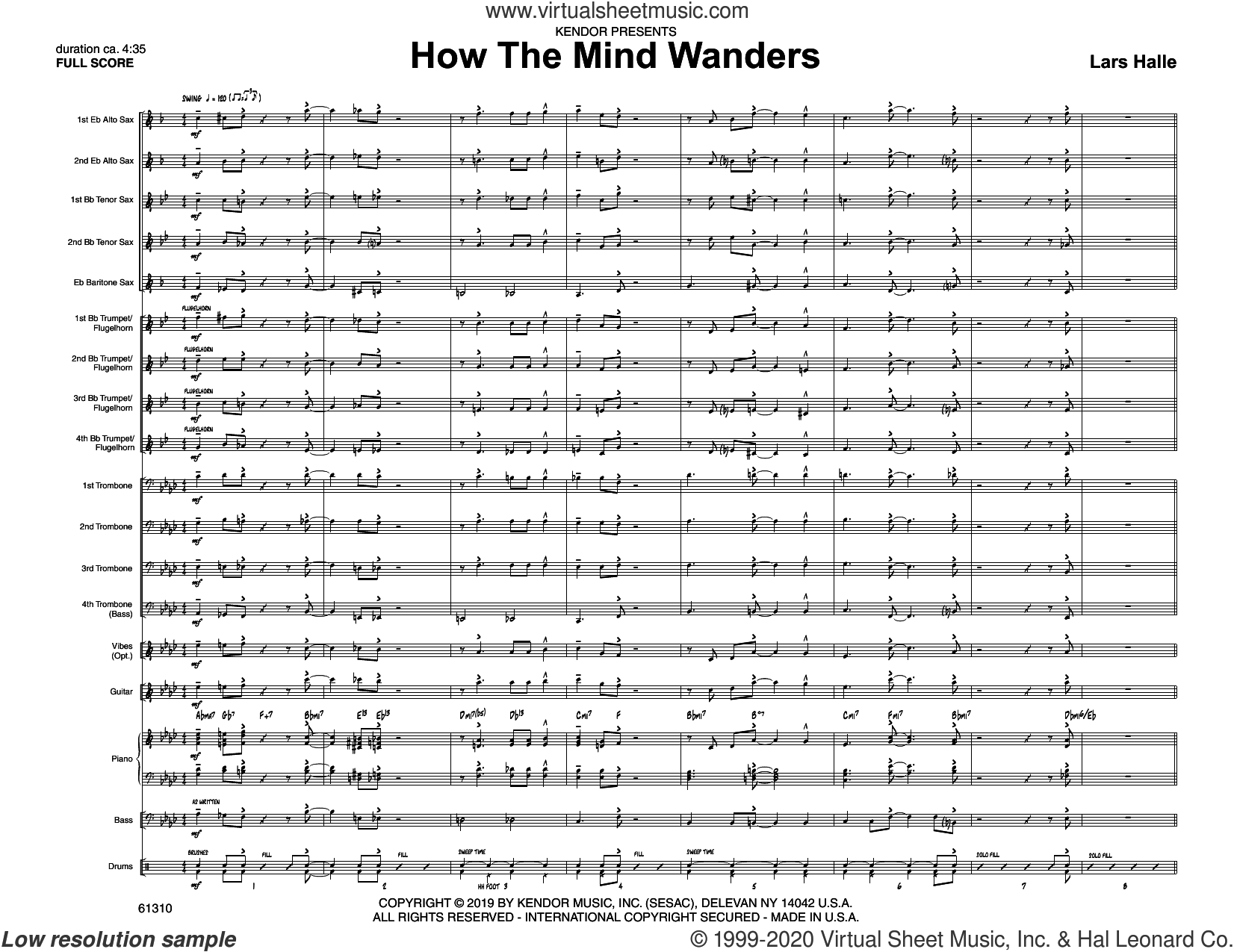 How The Mind Wanders (COMPLETE) sheet music for jazz band by Lars Halle, intermediate skill level