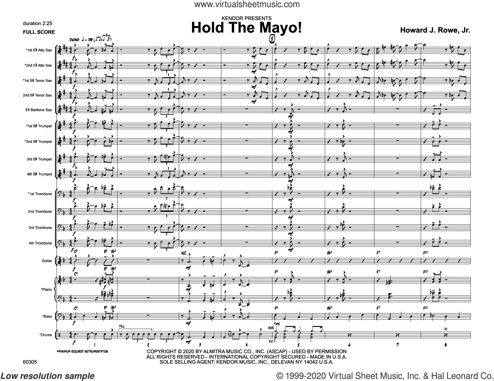 Hold The Mayo! (COMPLETE) sheet music for jazz band by Howard Rowe, intermediate skill level