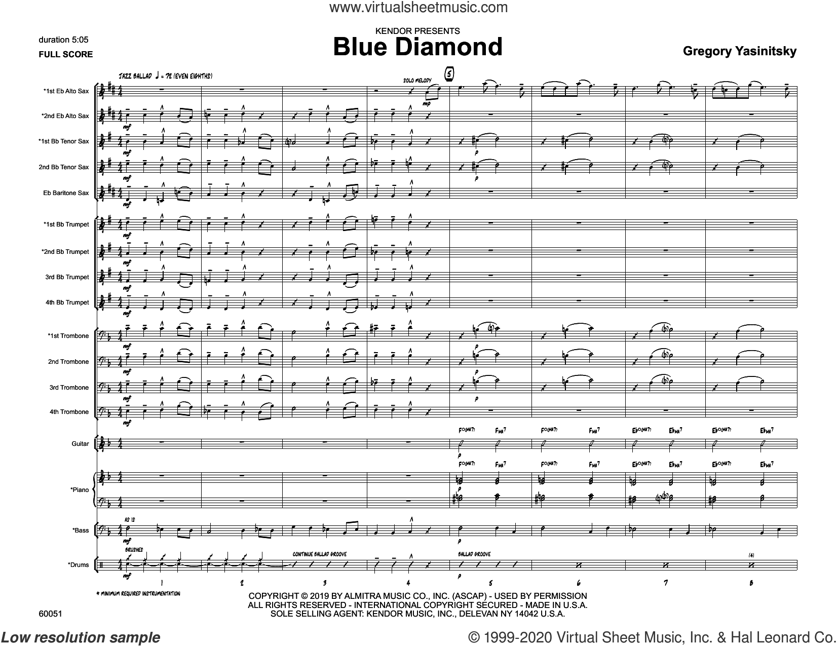 Blue Diamond (COMPLETE) sheet music for jazz band by Gregory Yasinitsky, intermediate skill level