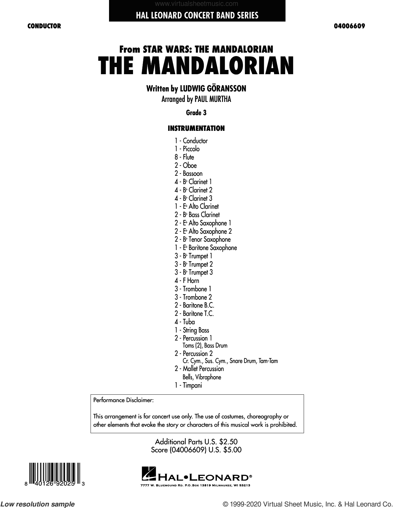 The Mandalorian (from Star Wars: The Mandalorian) (arr. Paul Murtha) (COMPLETE) sheet music for concert band by Paul Murtha and Ludwig Goransson, intermediate skill level