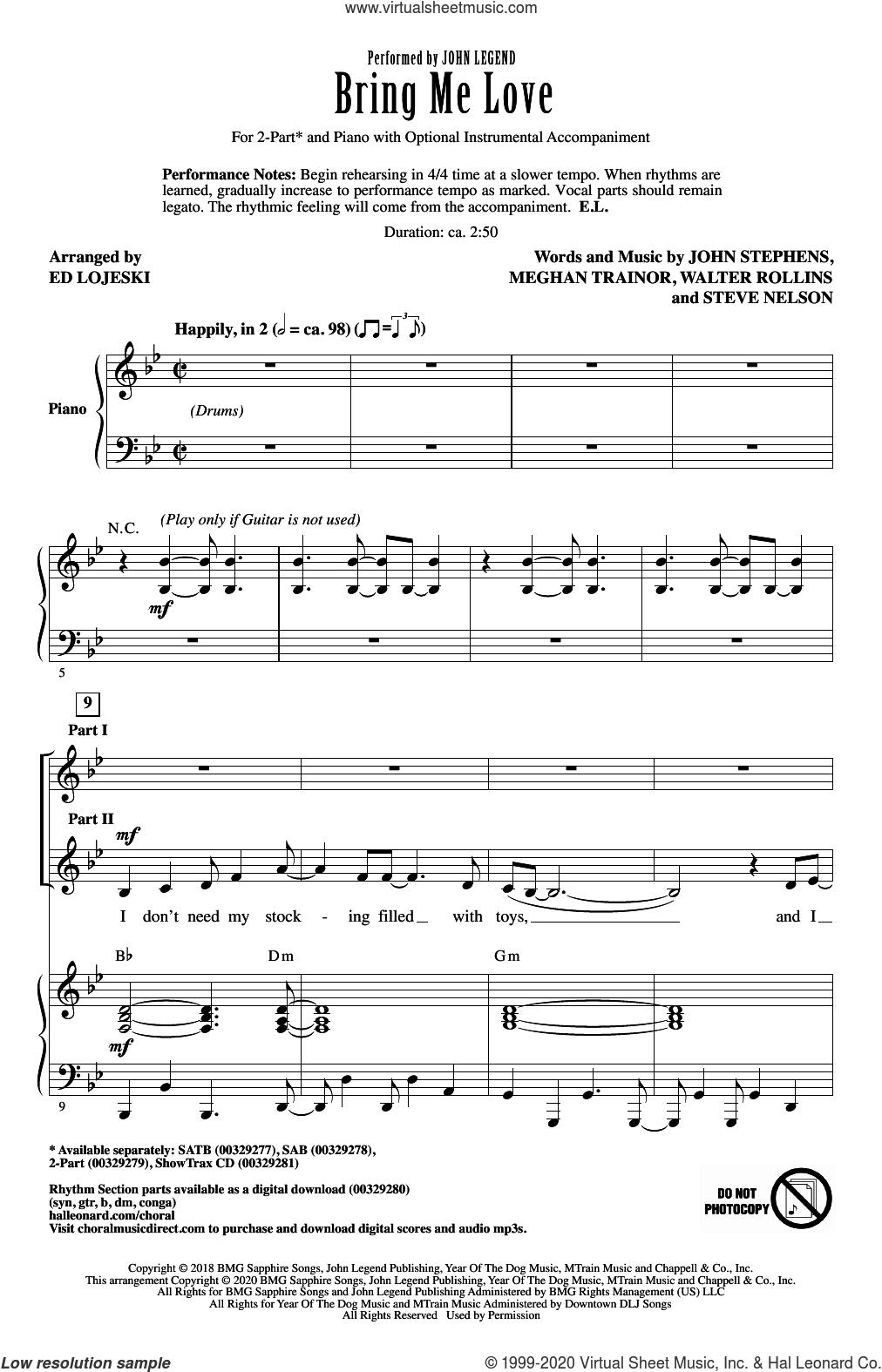 Bring Me Love (arr. Ed Lojeski) sheet music for choir (2-Part) by John Legend, Ed Lojeski, John Stephens, Meghan Trainor, Steve Nelson and Walter Rollins, intermediate duet
