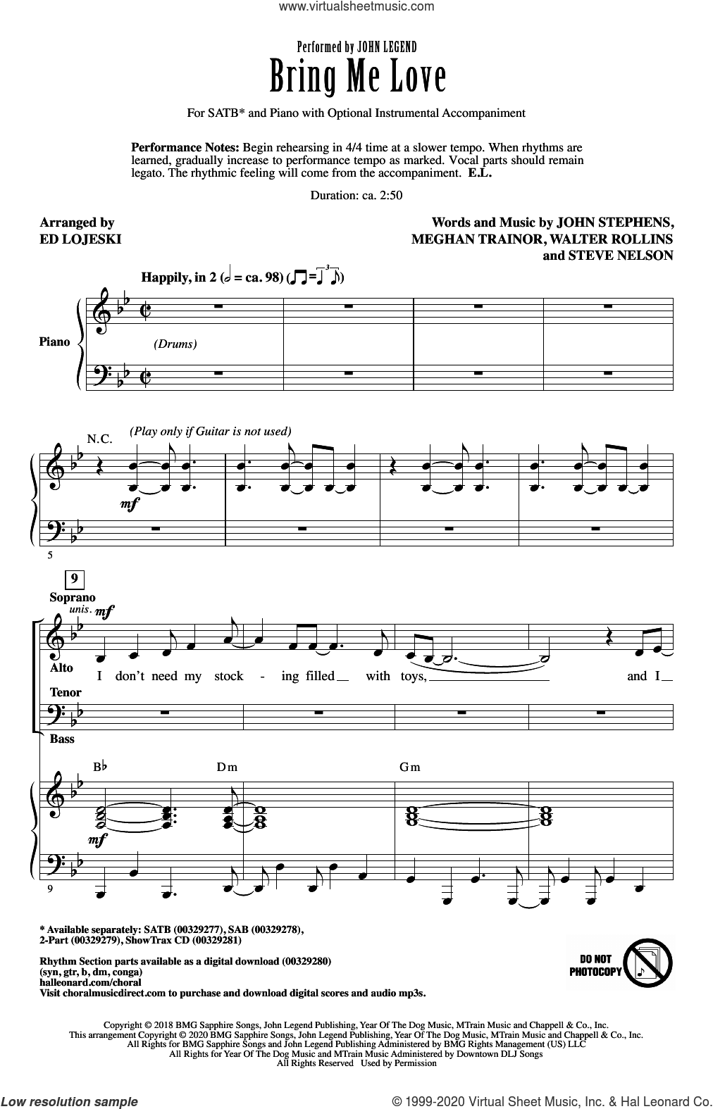 Bring Me Love (arr. Ed Lojeski) sheet music for choir (SATB: soprano, alto, tenor, bass) by John Legend, Ed Lojeski, John Stephens, Meghan Trainor, Steve Nelson and Walter Rollins, intermediate skill level