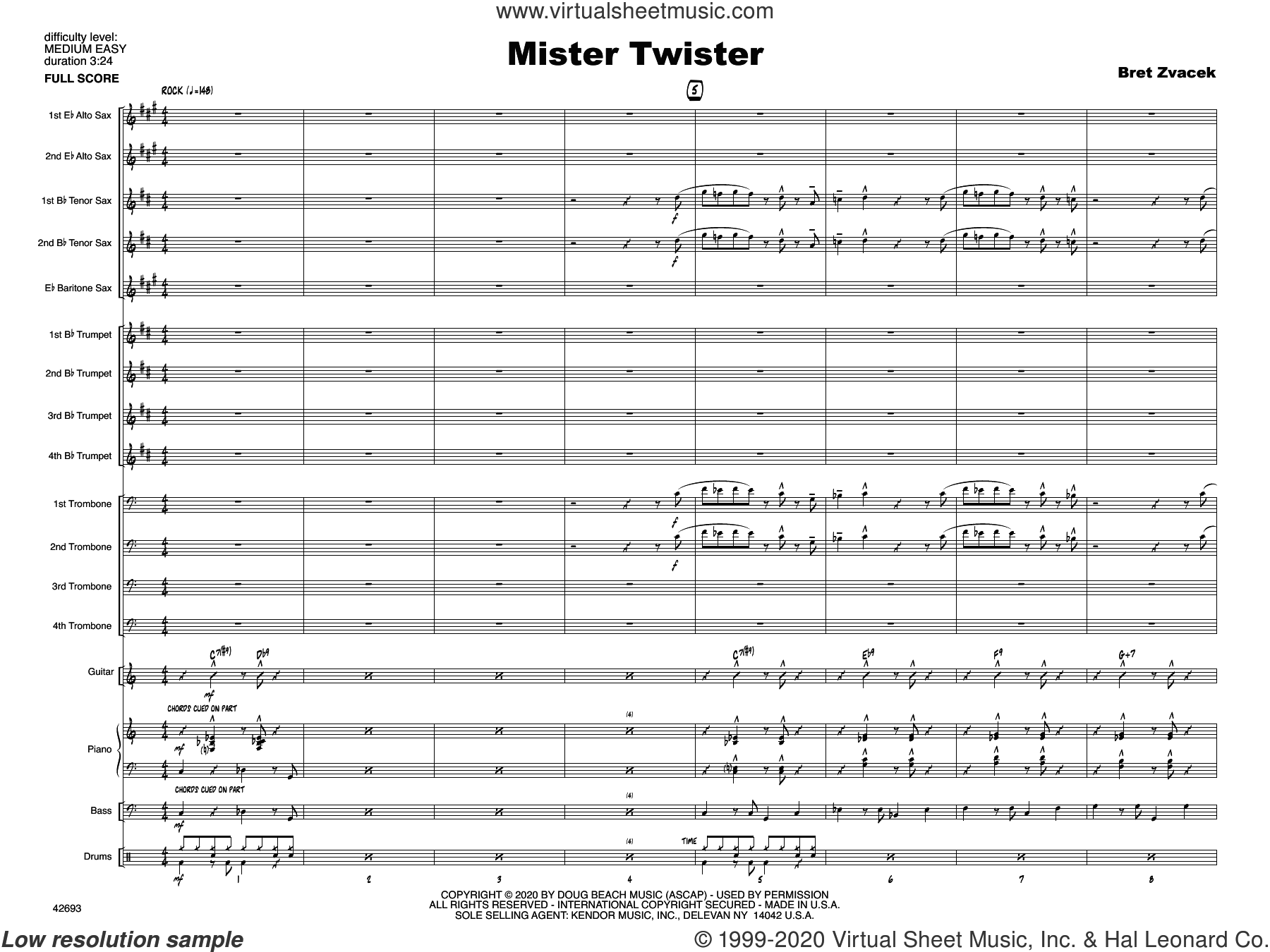 Mister Twister (COMPLETE) sheet music for jazz band by Bret Zvacek, intermediate skill level
