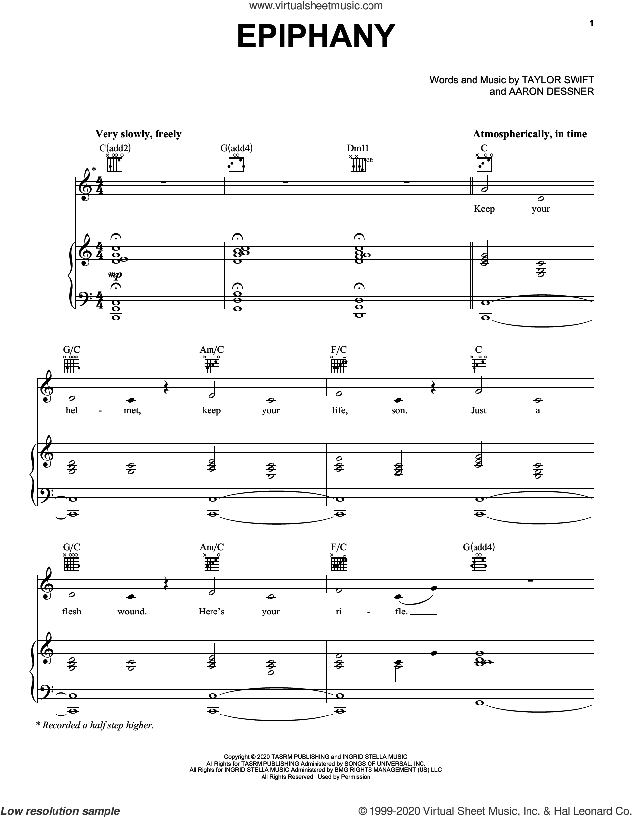 epiphany sheet music for voice, piano or guitar by Taylor Swift and Aaron Dessner, intermediate skill level