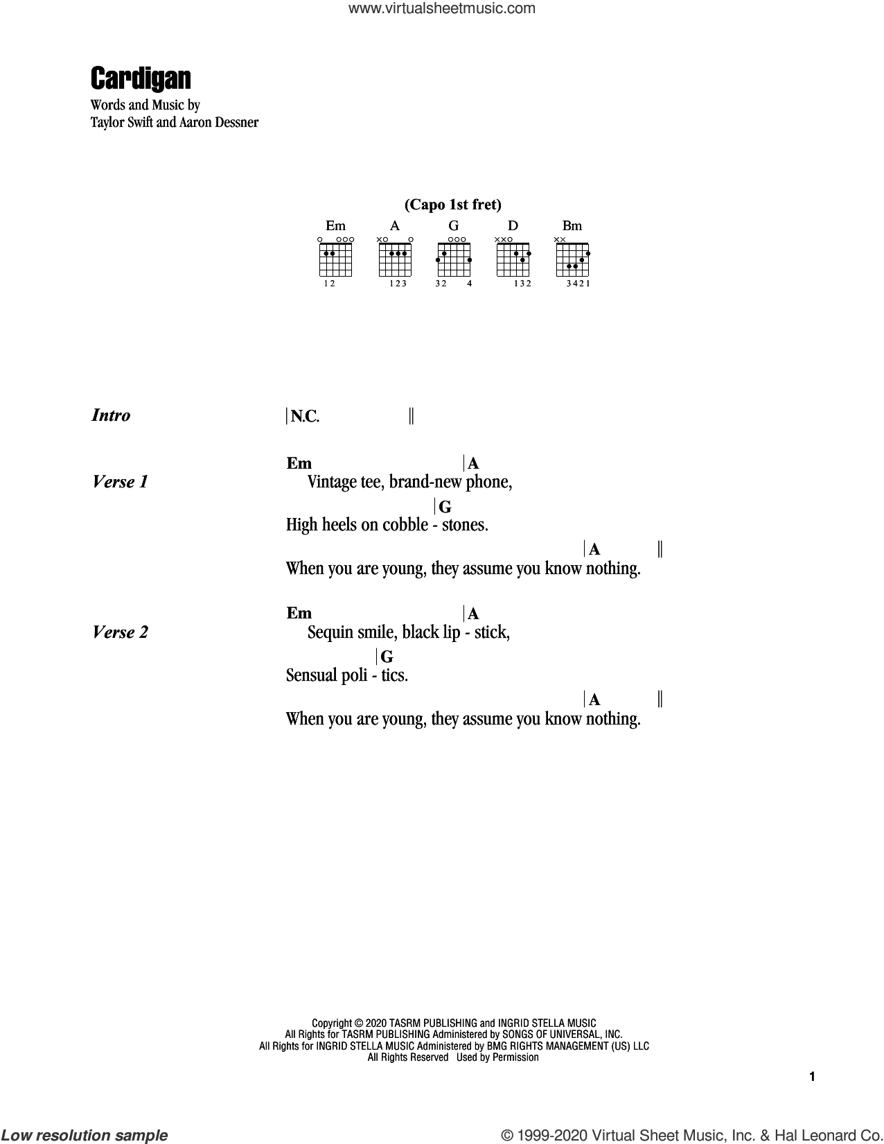 cardigan sheet music for guitar (chords) by Taylor Swift and Aaron Dessner, intermediate skill level