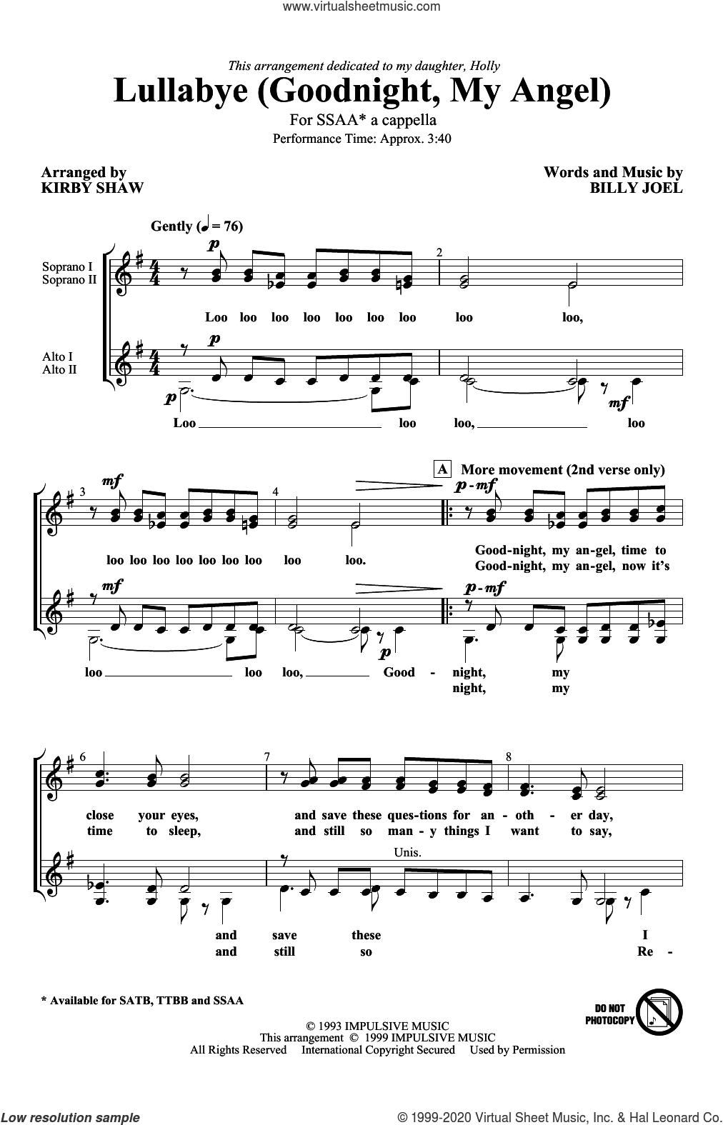 Lullabye (Goodnight, My Angel) (arr. Kirby Shaw) sheet music for choir (SSAA: soprano, alto) by Billy Joel and Kirby Shaw, intermediate skill level