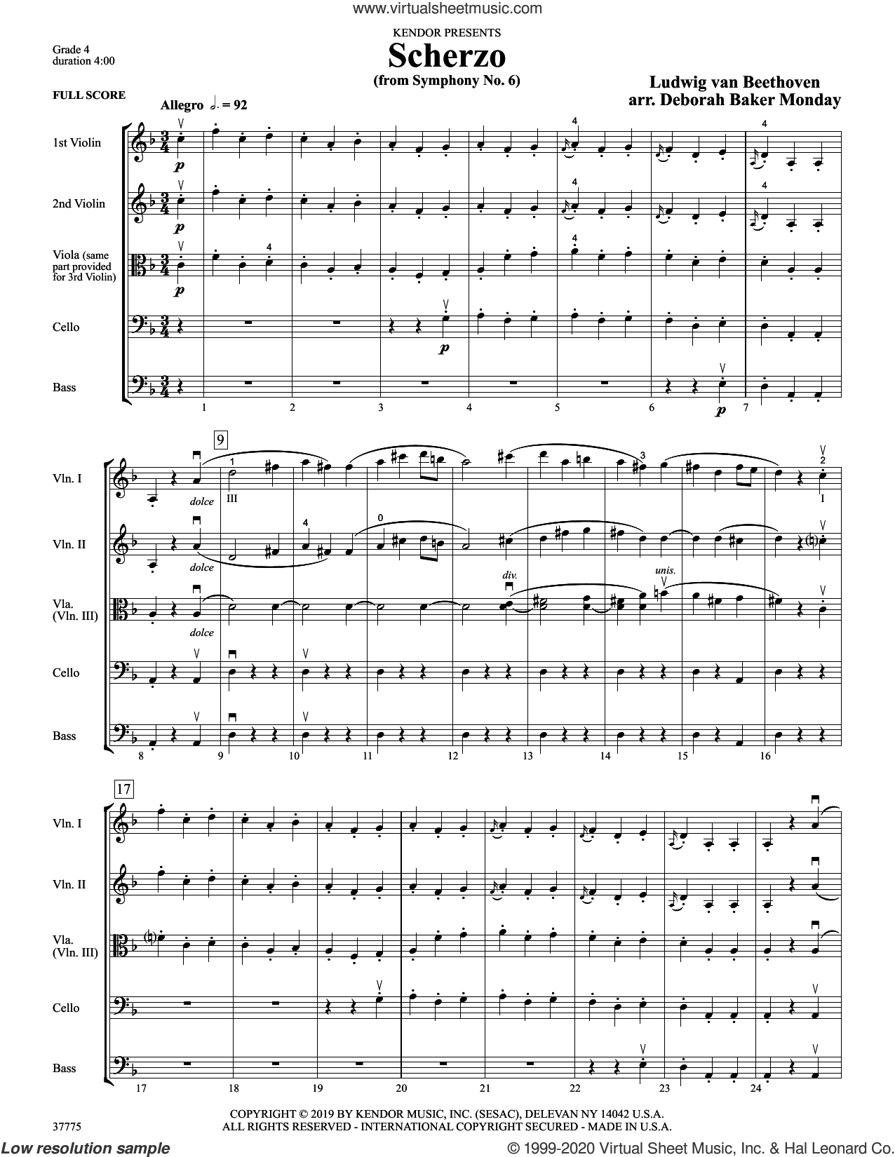 Scherzo (from Symphony No. 6) (arr. Deborah Baker Monday) (COMPLETE) sheet music for orchestra by Ludwig van Beethoven and Deborah Baker Monday, classical score, intermediate skill level