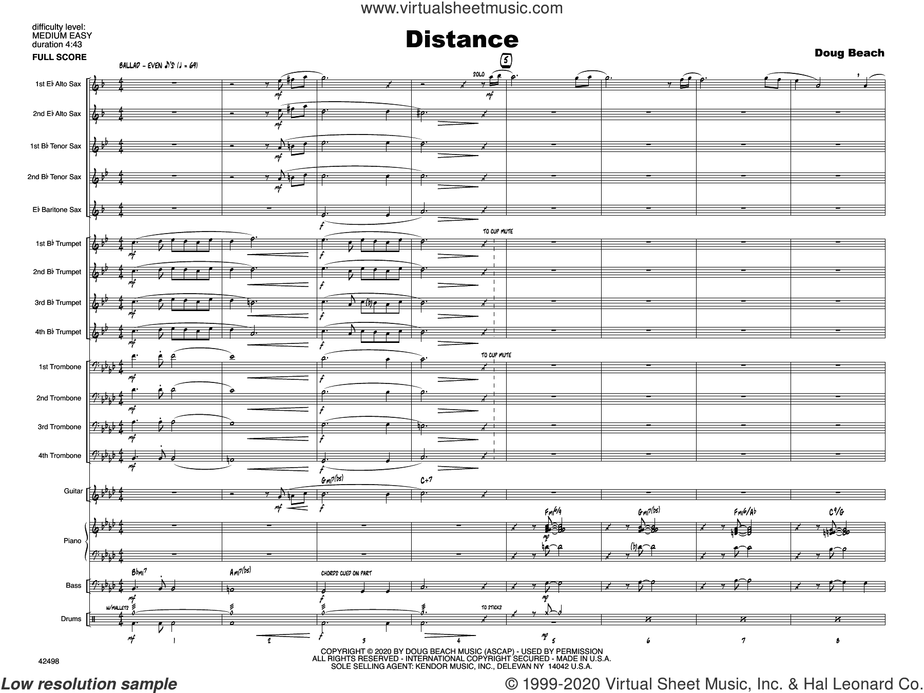 Distance (COMPLETE) sheet music for jazz band by Doug Beach, intermediate skill level