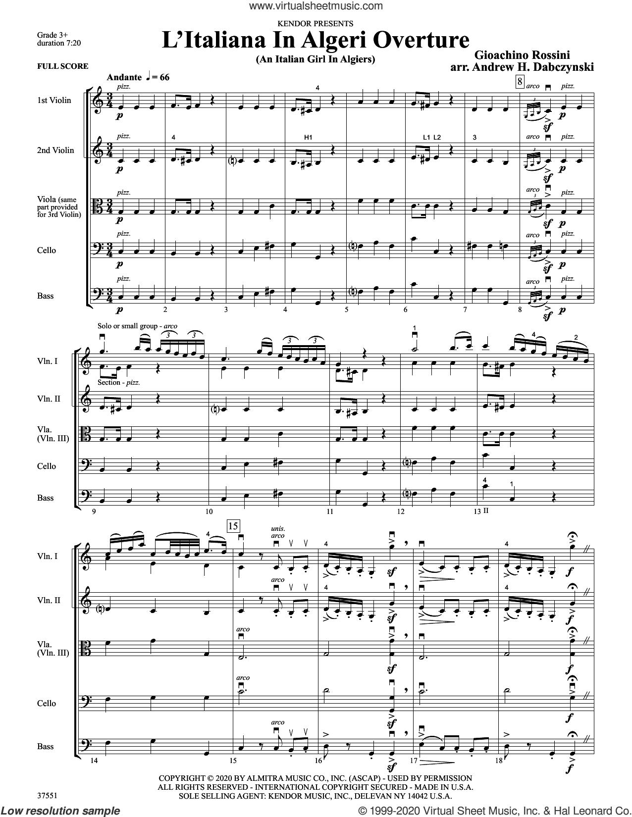 L'italiana In Algeri Overture (an Italian Girl In Algiers) (arr. Andrew Dabczynski) (COMPLETE) sheet music for orchestra by Gioacchino Rossini and Andrew Dabczynski, classical score, intermediate skill level