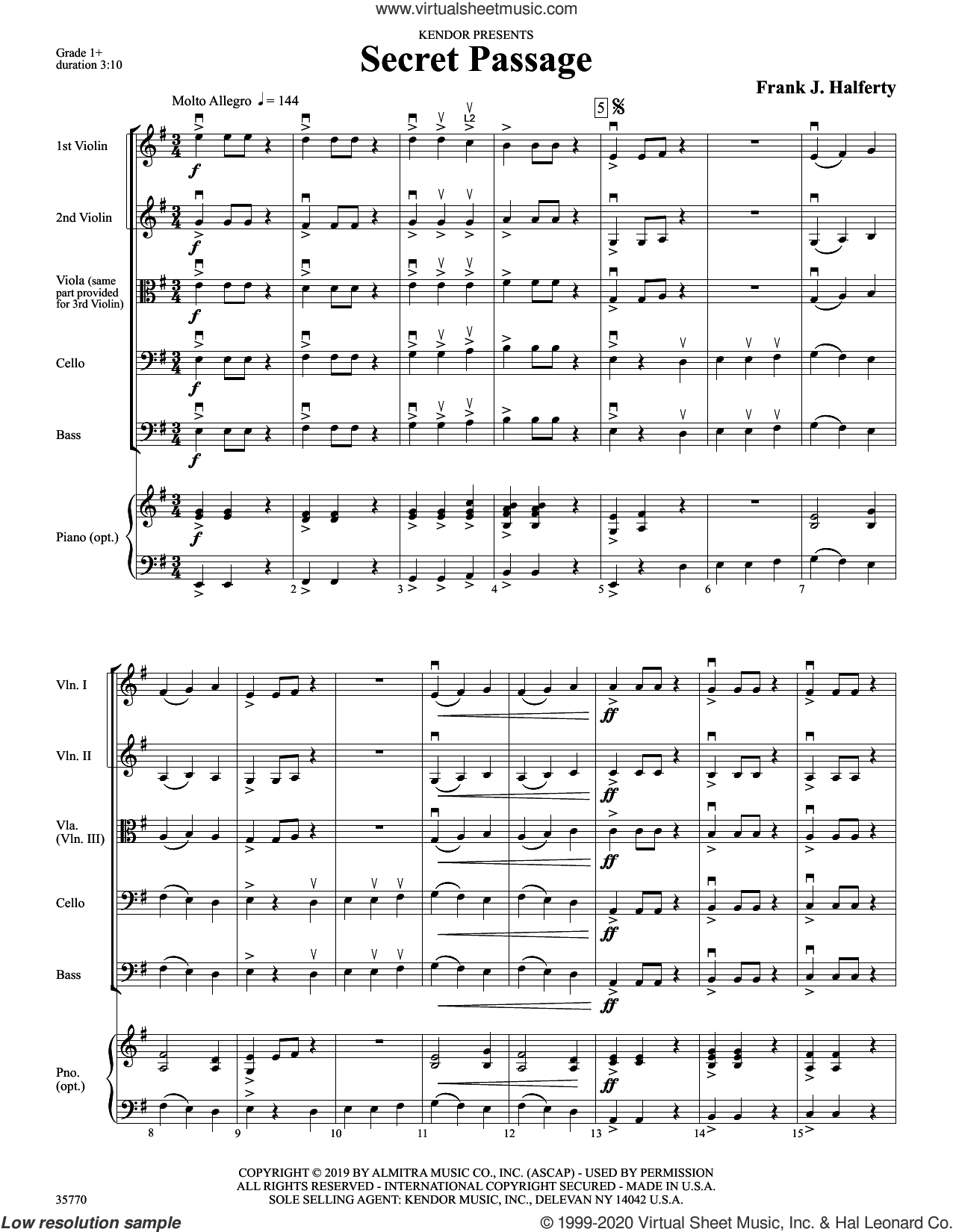 Secret Passage (COMPLETE) sheet music for orchestra by Frank J. Halferty, intermediate skill level