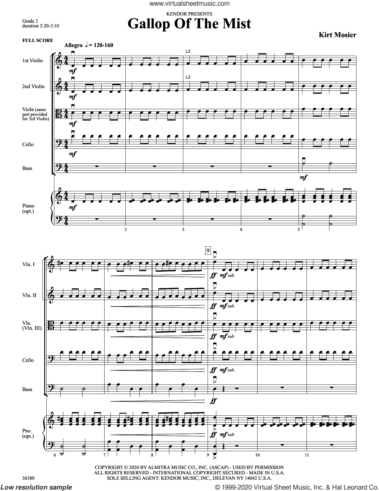 Gallop Of The Mist (COMPLETE) sheet music for orchestra by Kirt Mosier, intermediate skill level