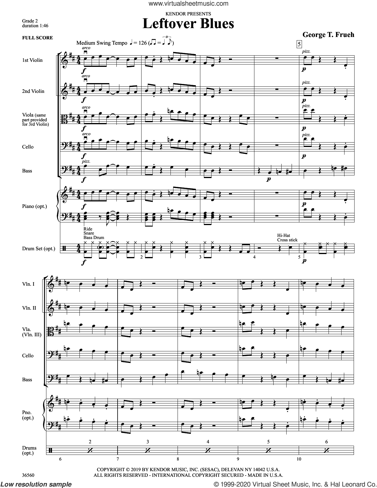 Leftover Blues (COMPLETE) sheet music for orchestra by George Frueh, intermediate skill level