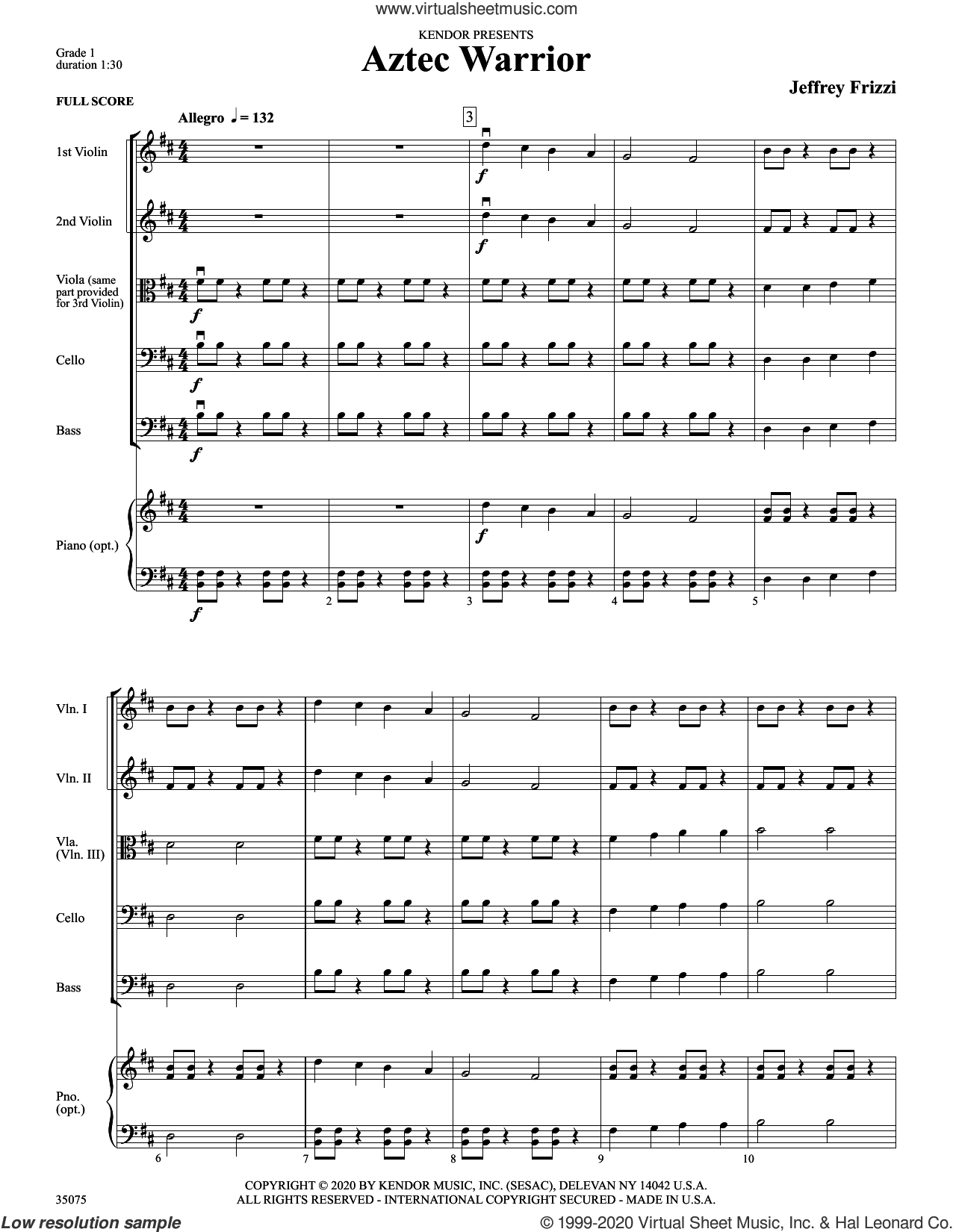 Aztec Warrior (COMPLETE) sheet music for orchestra by Jeff Frizzi, intermediate skill level