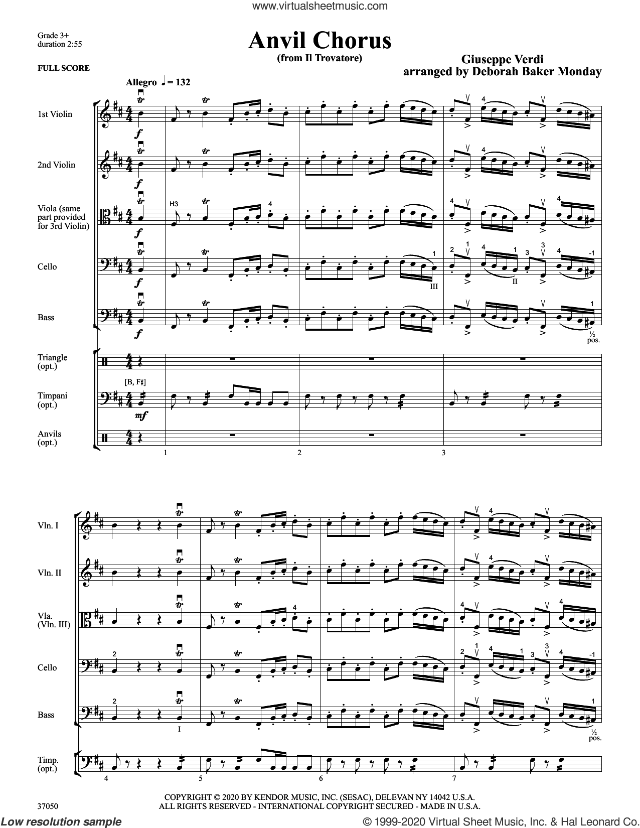 Anvil Chorus (from Il Trovatore) (arr. Deborah Baker Monday) (COMPLETE) sheet music for orchestra by Giuseppe Verdi and Deborah Baker Monday, classical score, intermediate skill level