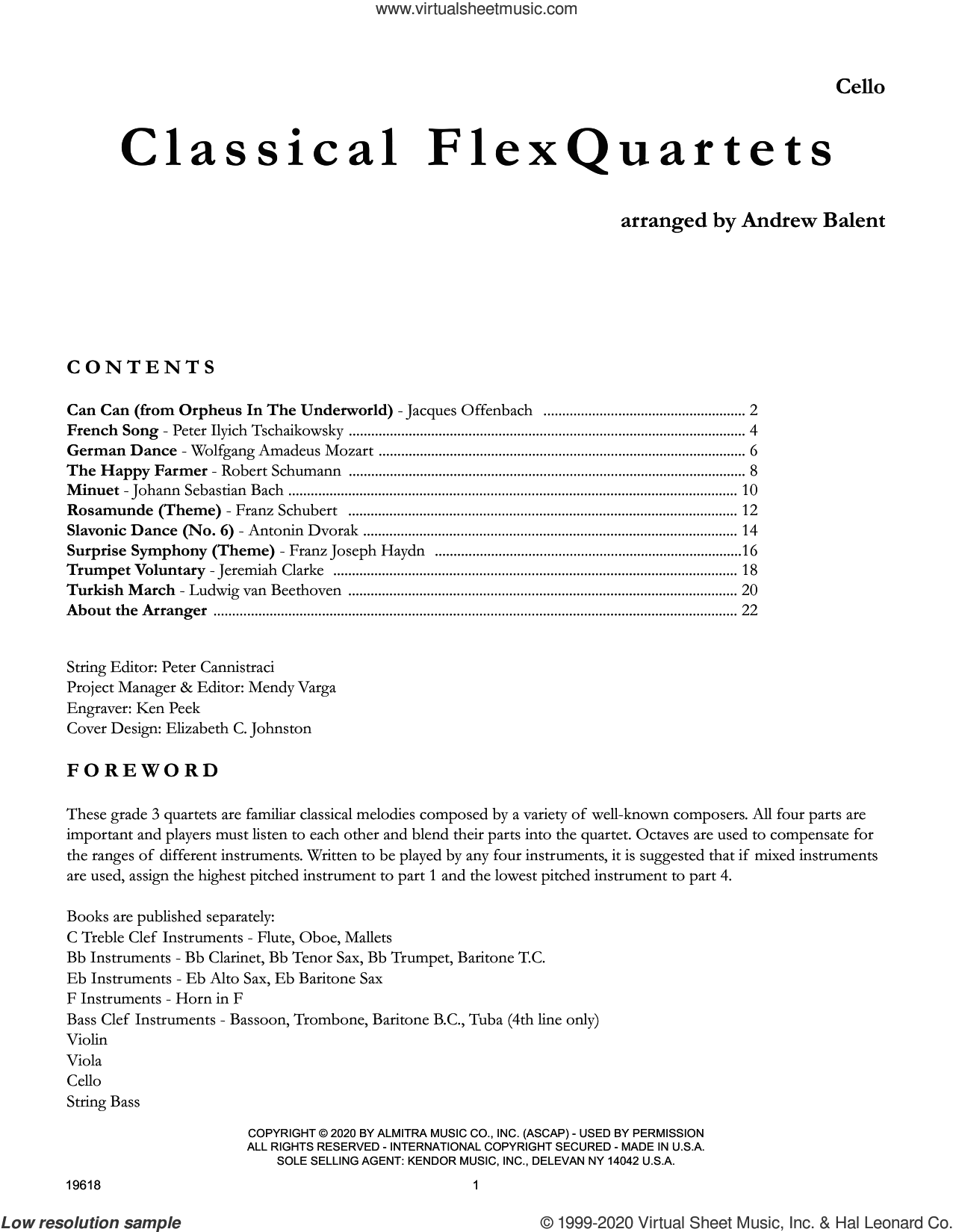 Classical Flexquartets (arr. Andrew Balent) - Cello sheet music for string orchestra  and Andrew Balent, classical score, intermediate skill level