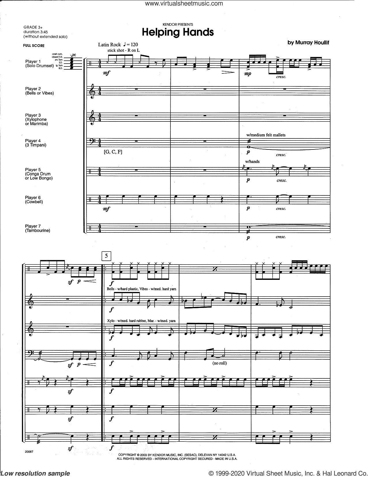 Helping Hands (COMPLETE) sheet music for percussions by Houllif, intermediate skill level