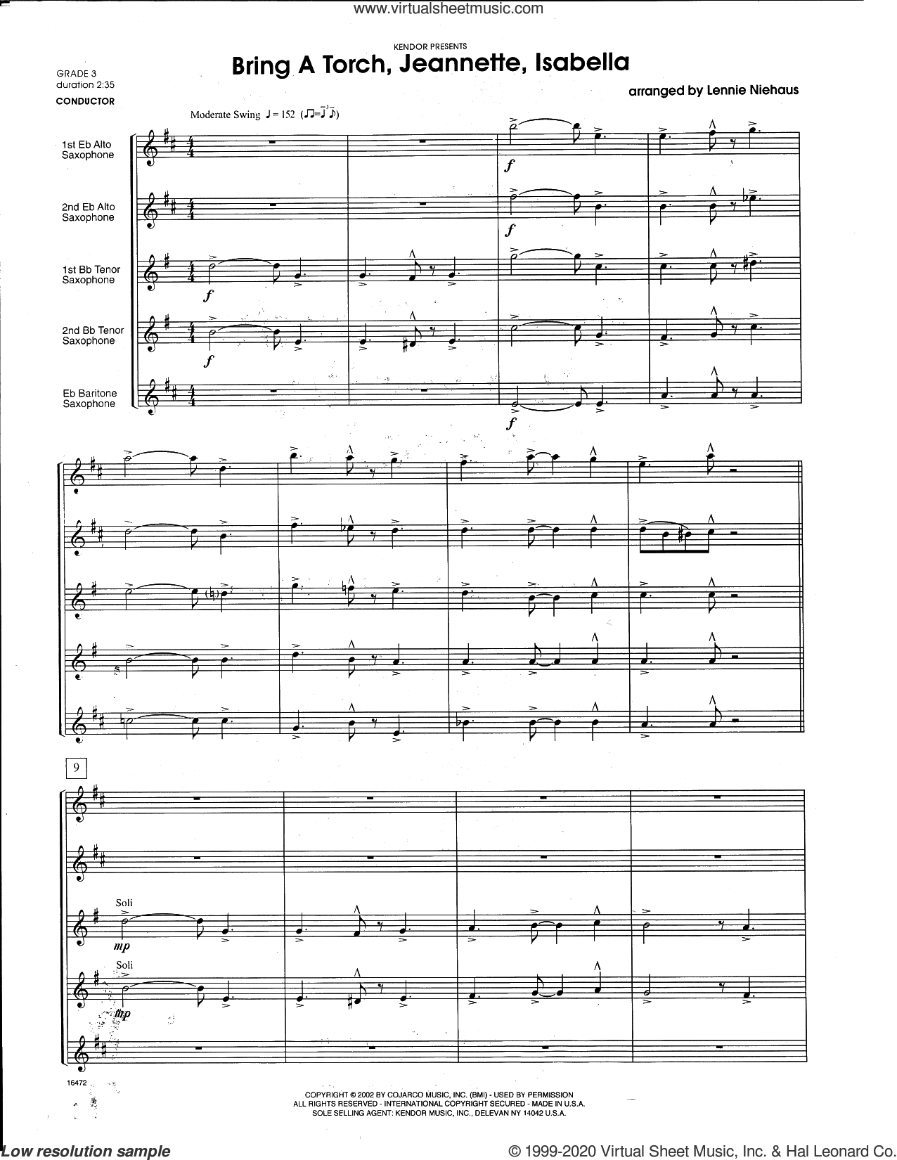 Bring a Torch, Jeannette, Isabella (arr. Lennie Niehaus) (COMPLETE) sheet music for saxophone quintet  and Lennie Niehaus, intermediate skill level