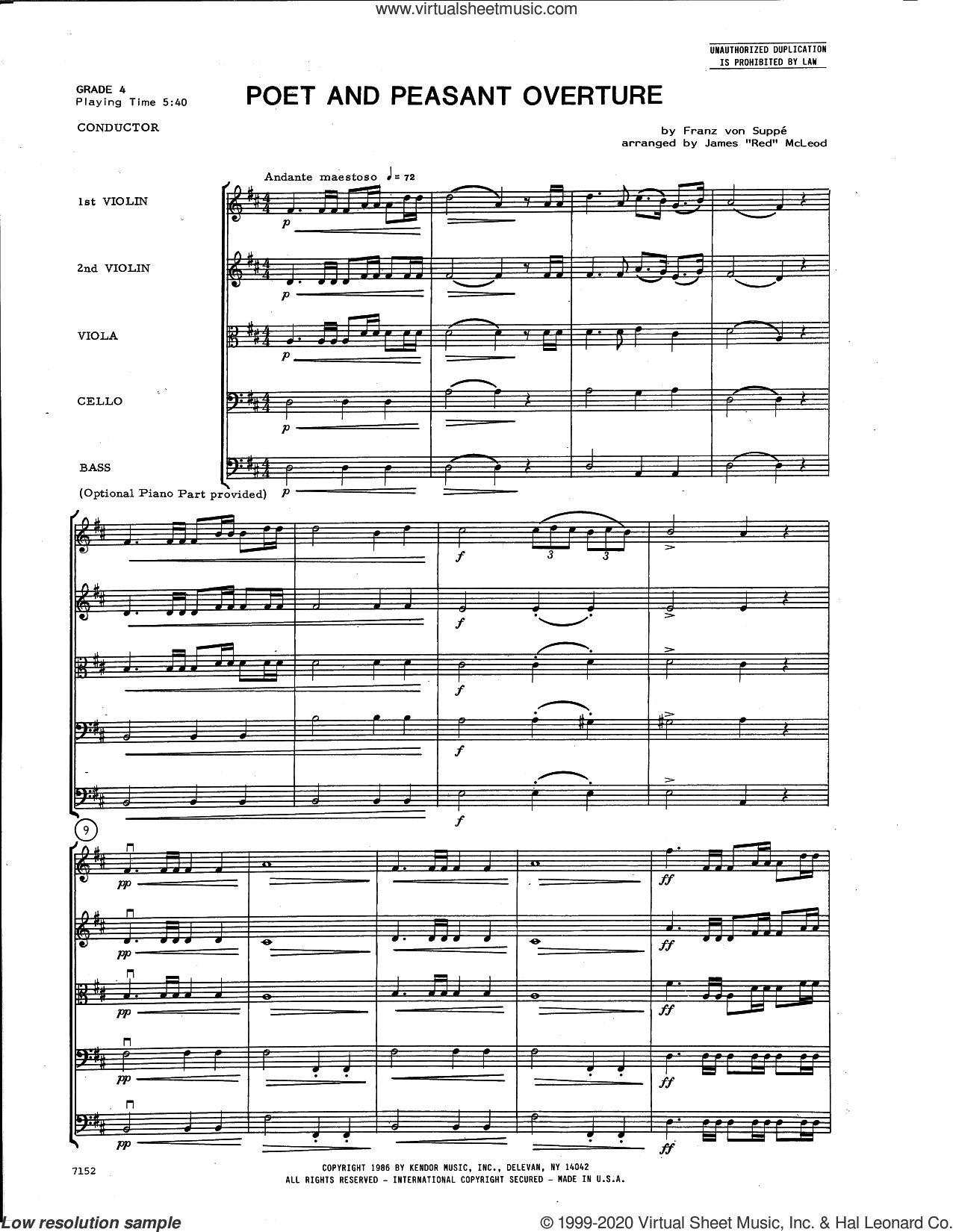 Poet and Peasant Overture (arr. James McLeod) (COMPLETE) sheet music for orchestra by James 'Red' McLeod and Franz Von Suppe, classical score, intermediate skill level