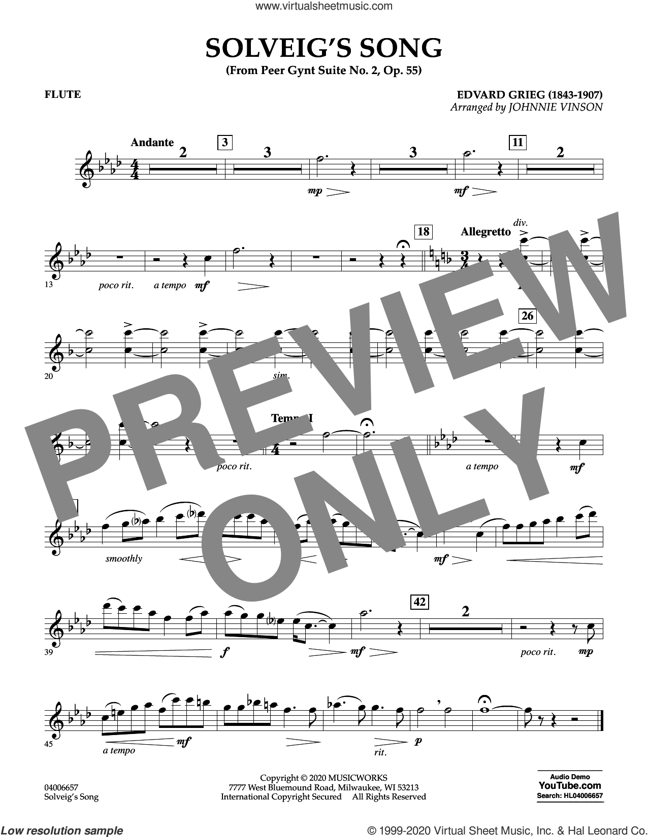 Solveig's Song (from Peer Gynt Suite No. 2) (arr. Johnny Vinson) sheet music for concert band (flute) by Edvard Grieg, Johnnie Vinson and Henrick Ibssen, intermediate skill level