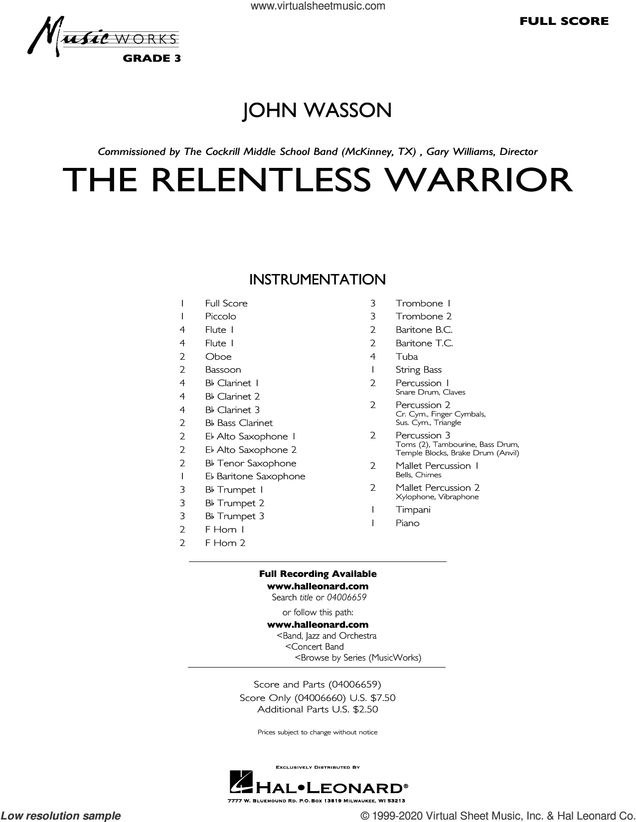 The Relentless Warrior (COMPLETE) sheet music for concert band by John Wasson, intermediate skill level