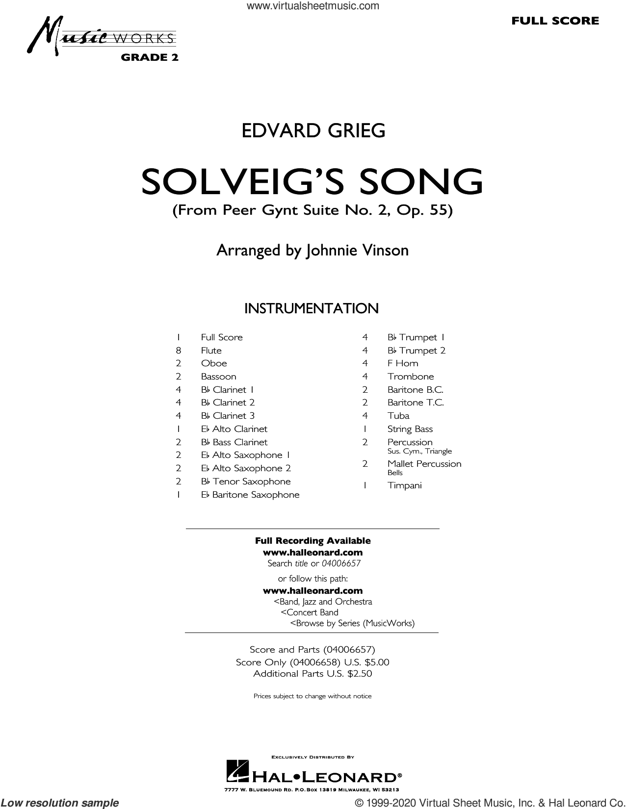Solveig's Song (from Peer Gynt Suite No. 2) (arr. Johnnie Vinson) (COMPLETE) sheet music for concert band by Edvard Grieg, Henrick Ibssen and Johnnie Vinson, intermediate skill level