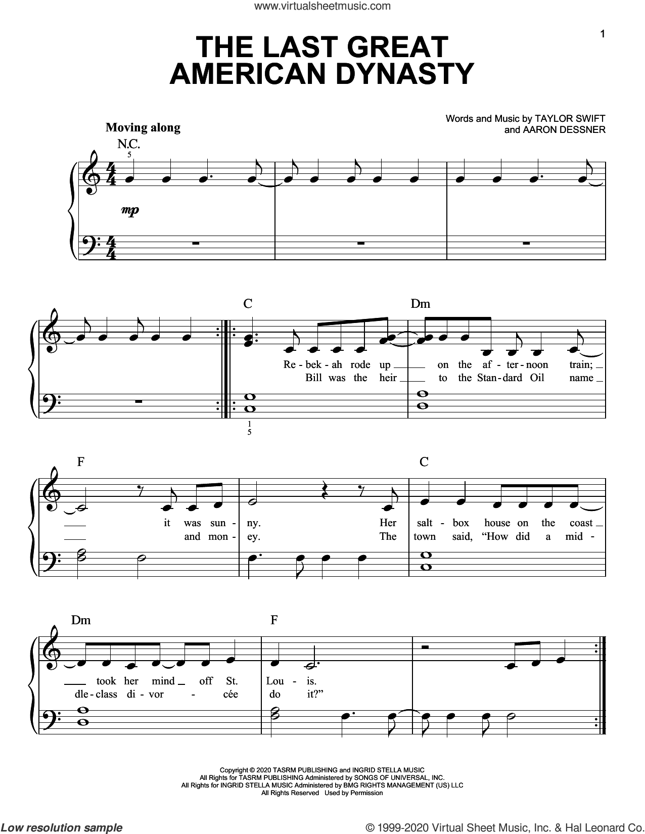 the last great american dynasty sheet music for piano solo by Taylor Swift and Aaron Dessner, easy skill level