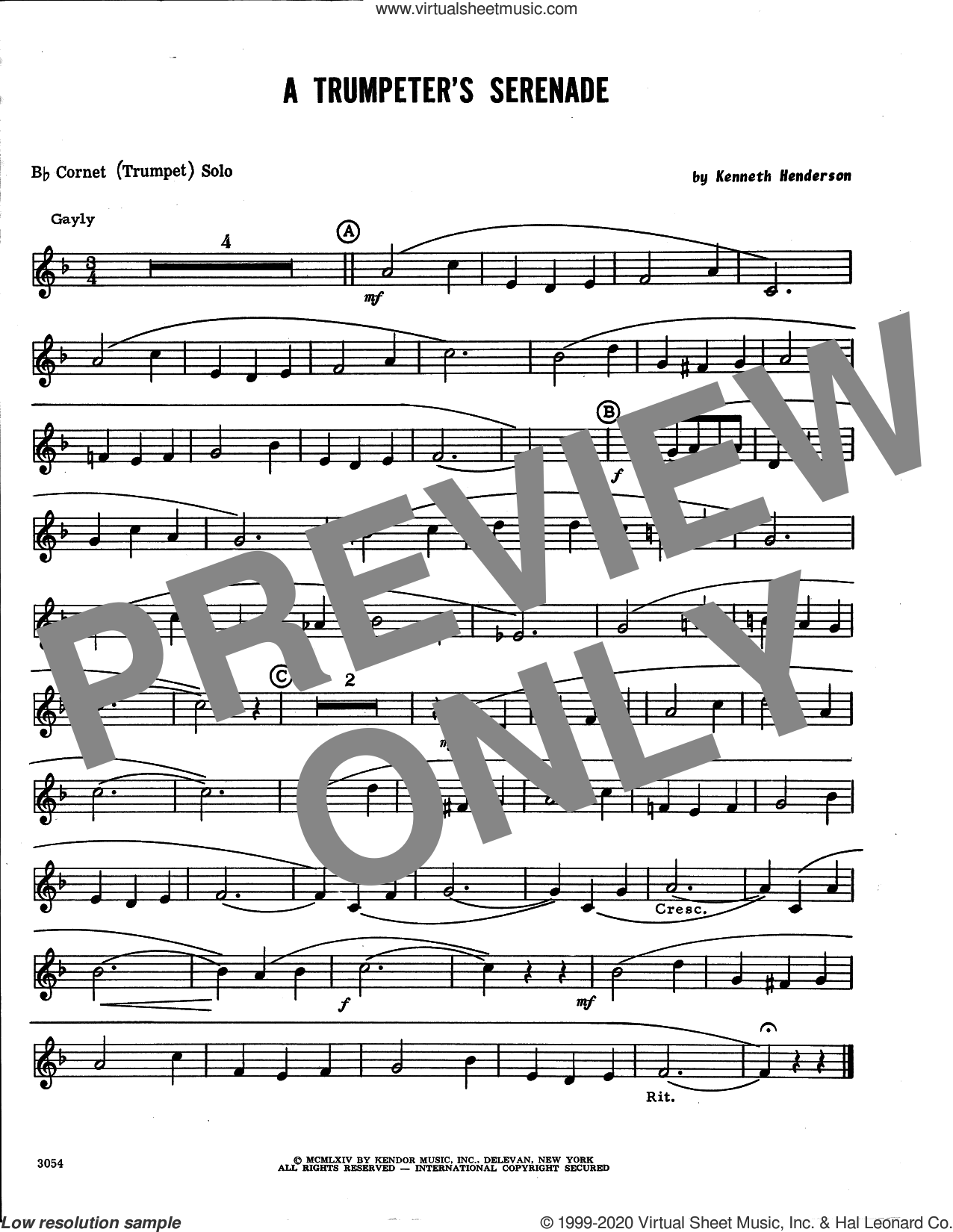 A Trumpeter's Serenade (complete set of parts) sheet music for trumpet and piano by Kenneth Henderson, classical score, intermediate skill level
