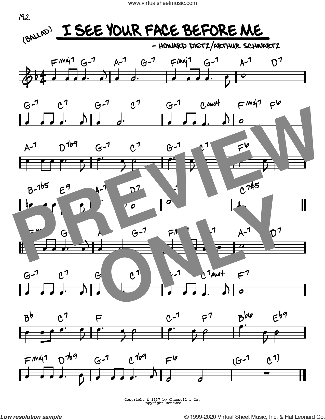 I See Your Face Before Me sheet music for voice and other instruments (real book) by Arthur Schwartz and Howard Dietz, intermediate skill level