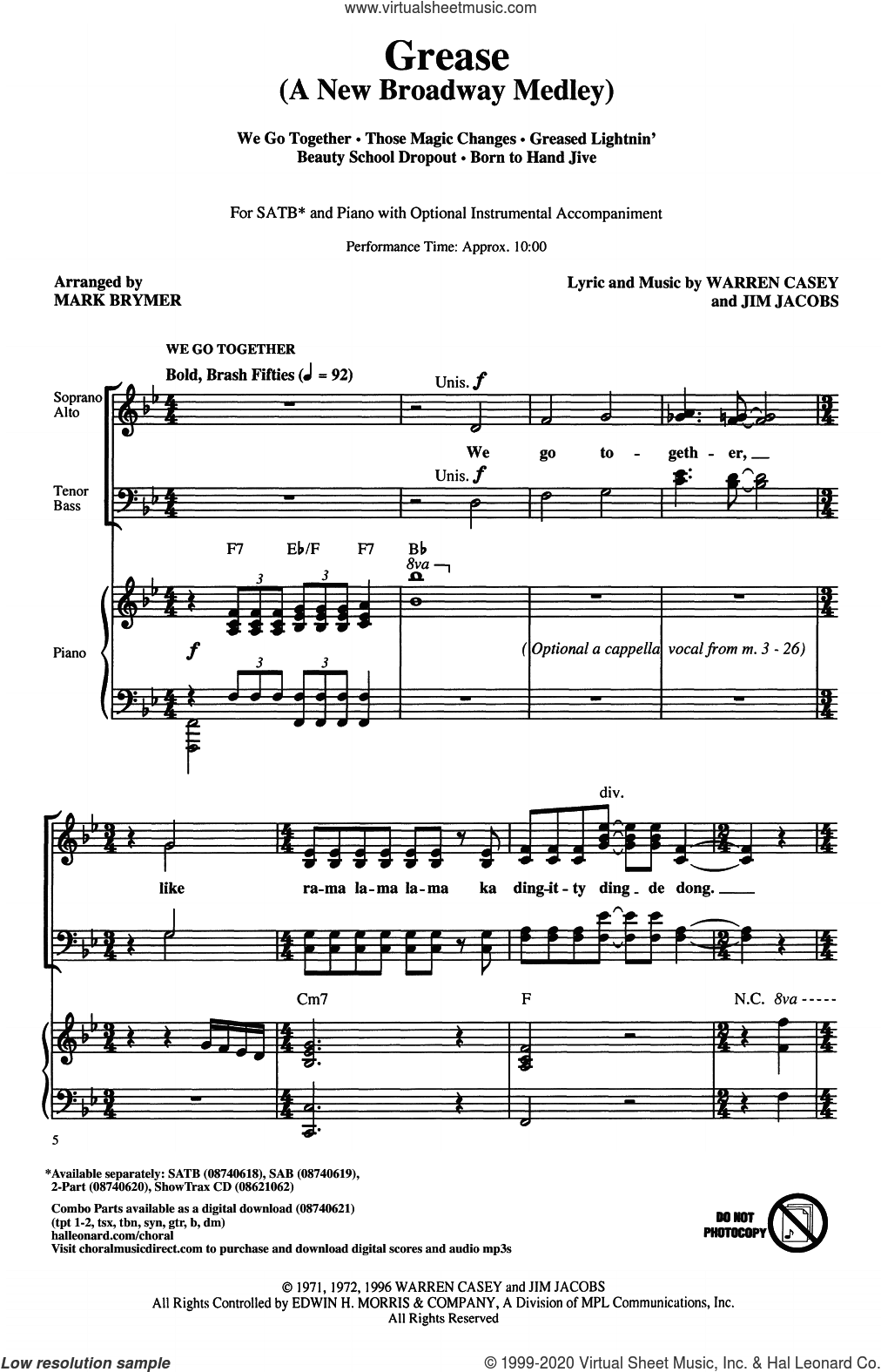 Grease: A New Broadway Medley (arr. Mark Brymer) sheet music for choir (SATB: soprano, alto, tenor, bass) by Jim Jacobs, Mark Brymer, Jim Jacobs & Warren Casey and Warren Casey, intermediate skill level
